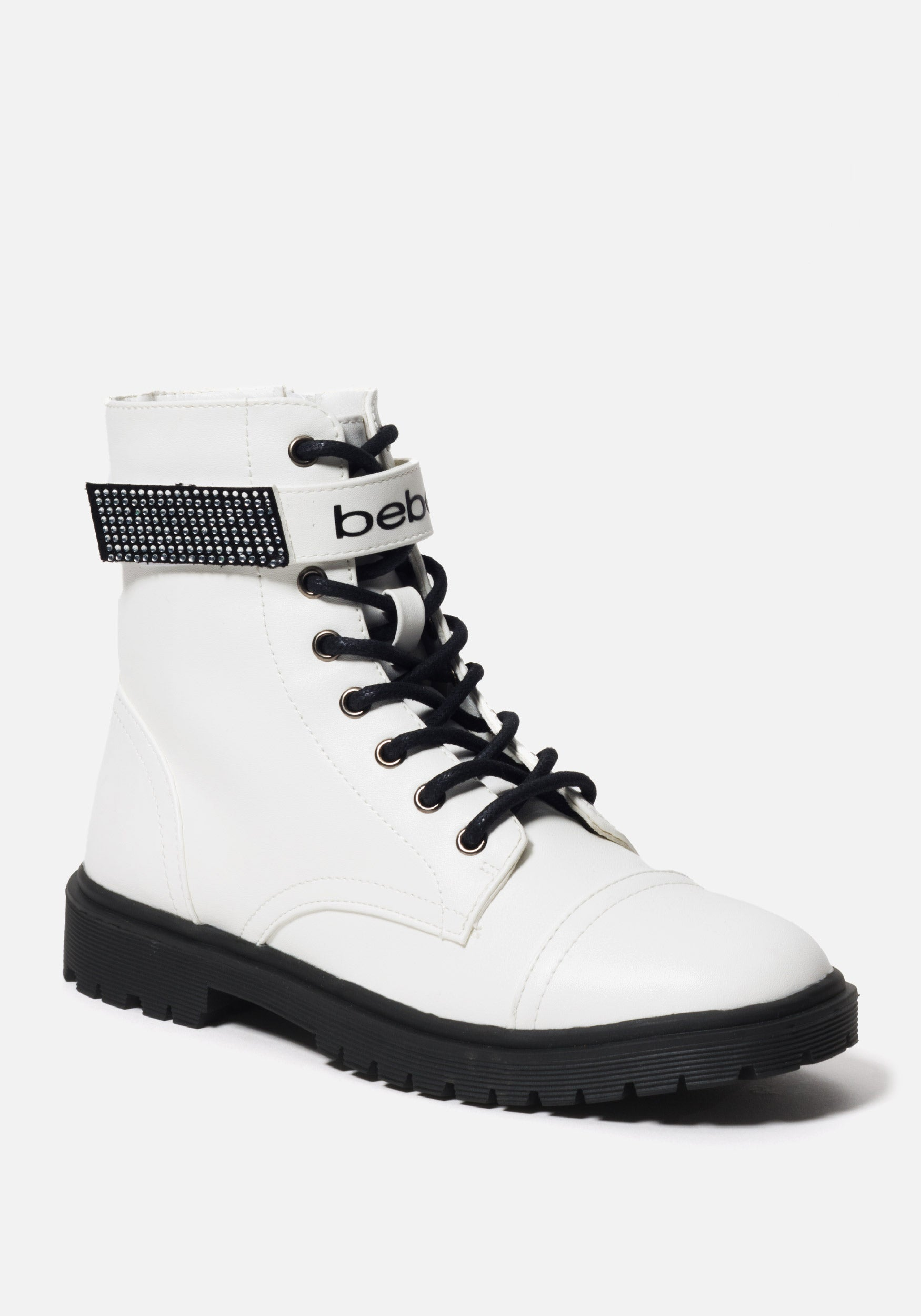 Bebe Women's Dayani Combat Boots, Size 6 in WHITE FAUX Synthetic