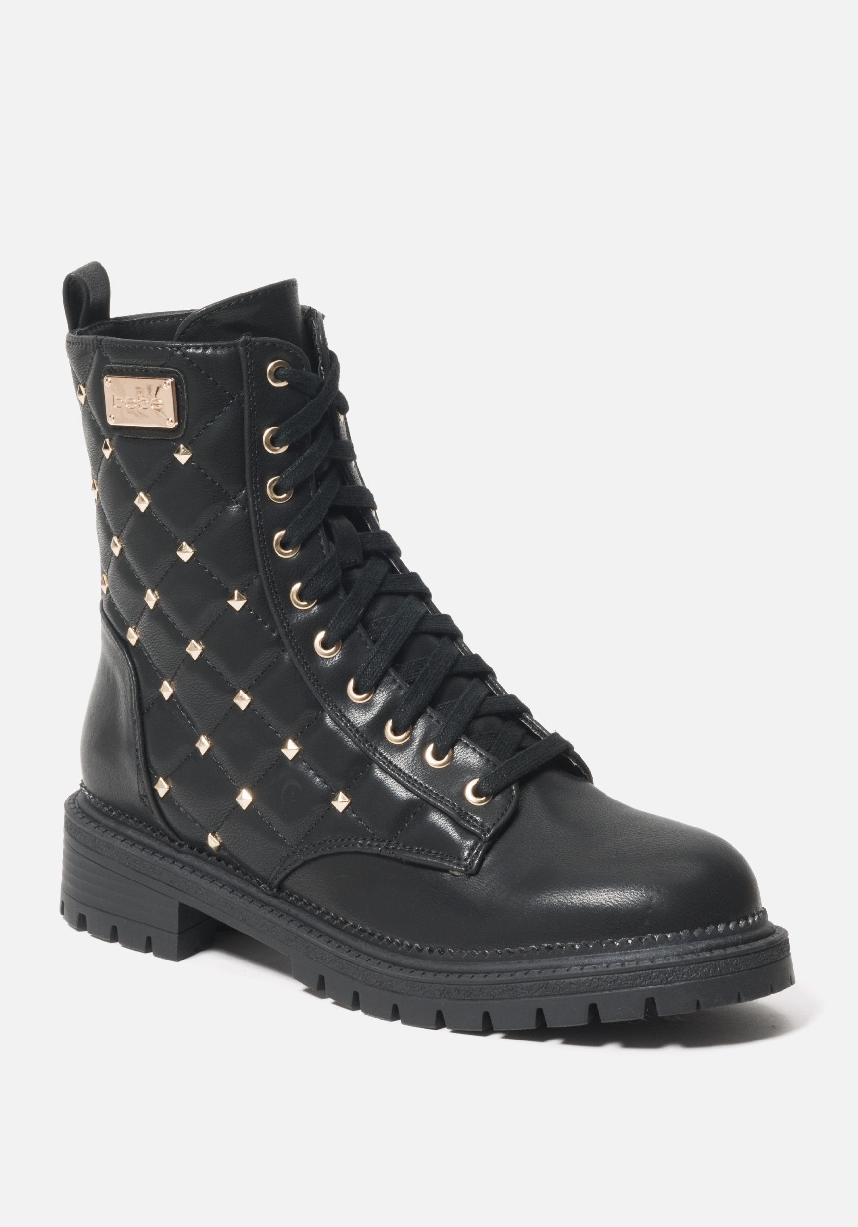 Bebe Women's Dorienne B Quilted Combat Boots, Size 6 in BLACK FAUX Synthetic