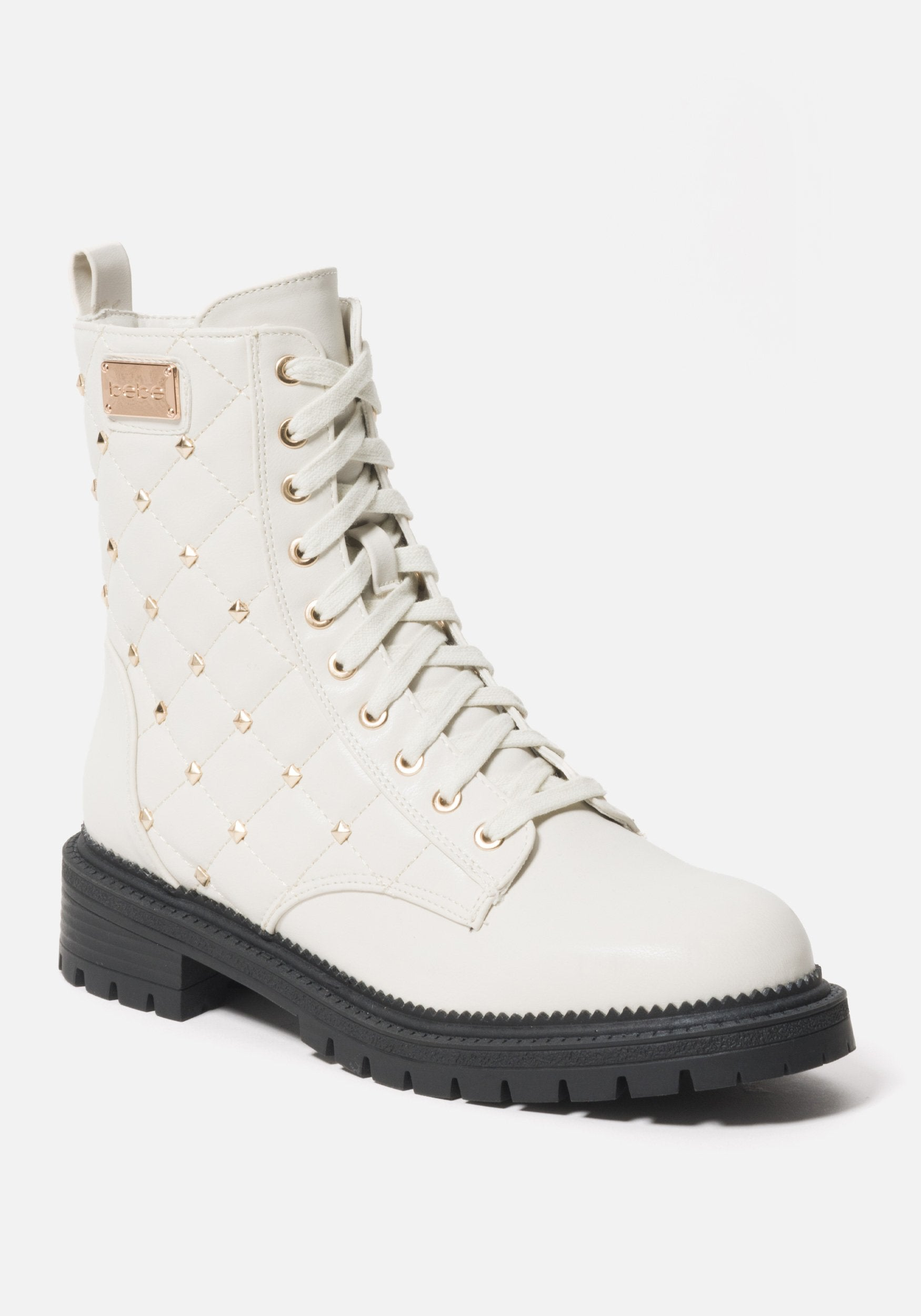 Bebe Women's Dorienne B Quilted Combat Boots, Size 6 in WHITE FAUX Synthetic