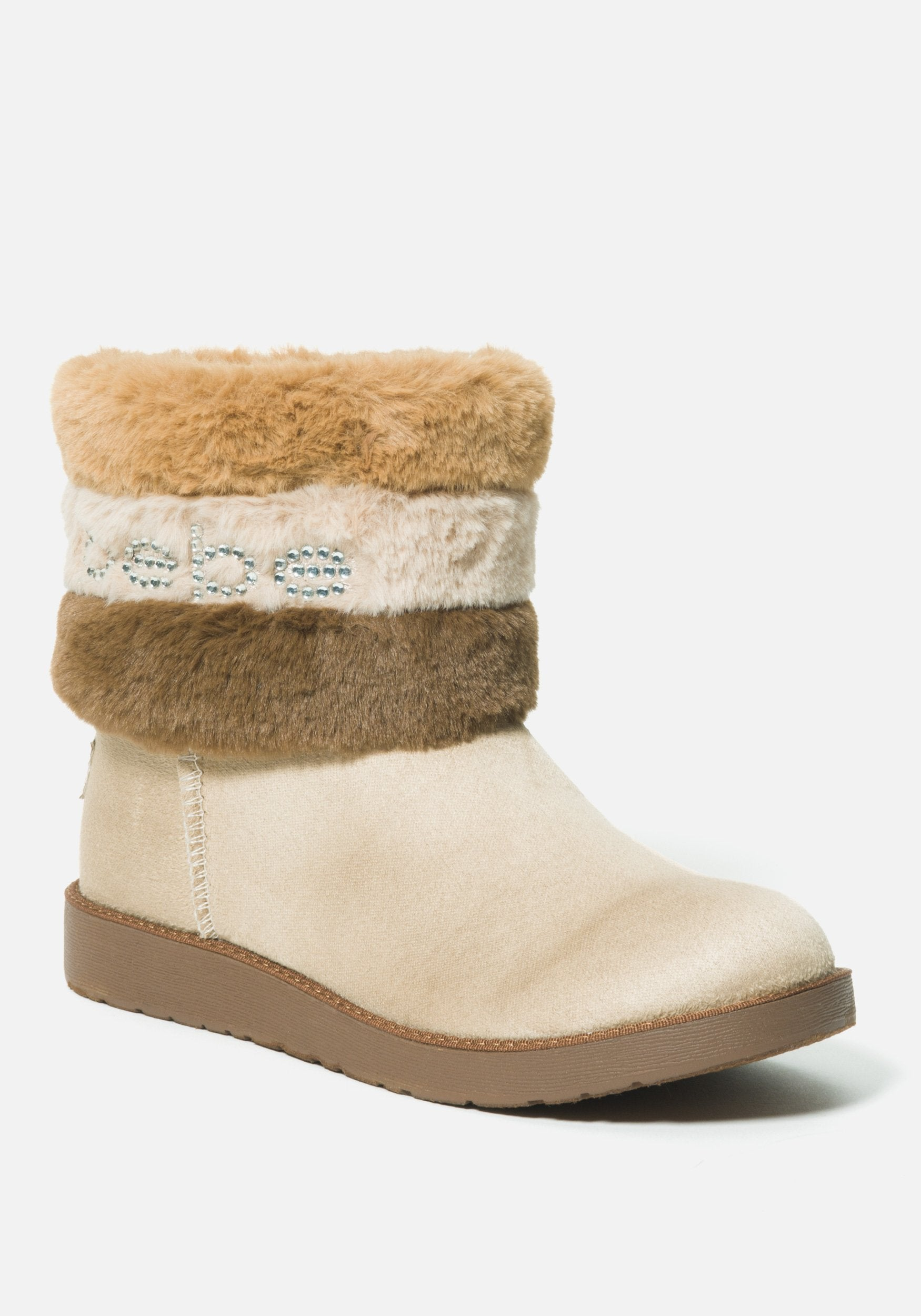 Bebe Women's Laverne Faux Suede Winter Boot, Size 6 in SAND