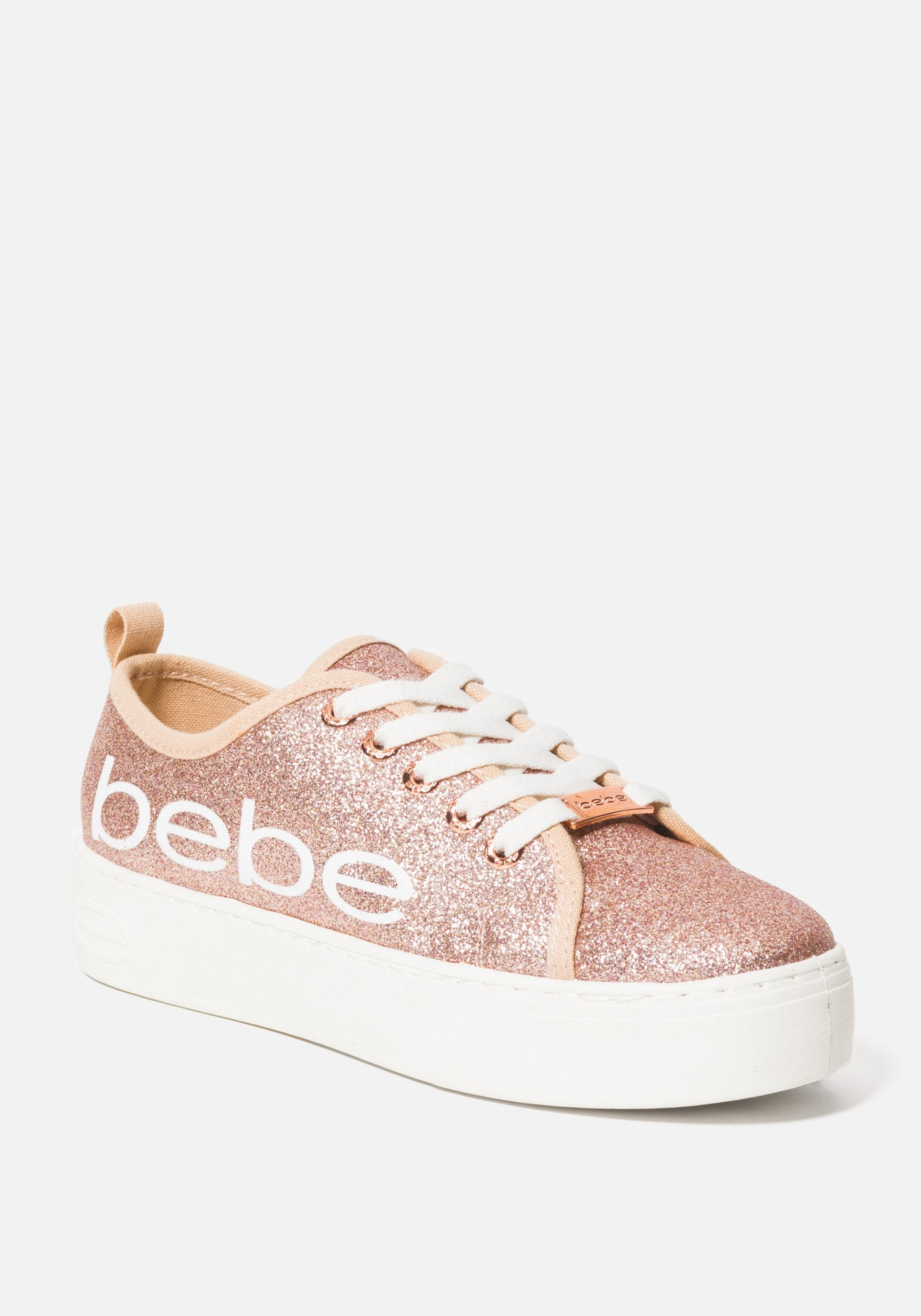 Women's Dovie Bebe Logo Sneakers, Size 6 in ROSE GOLD GLITTER Synthetic