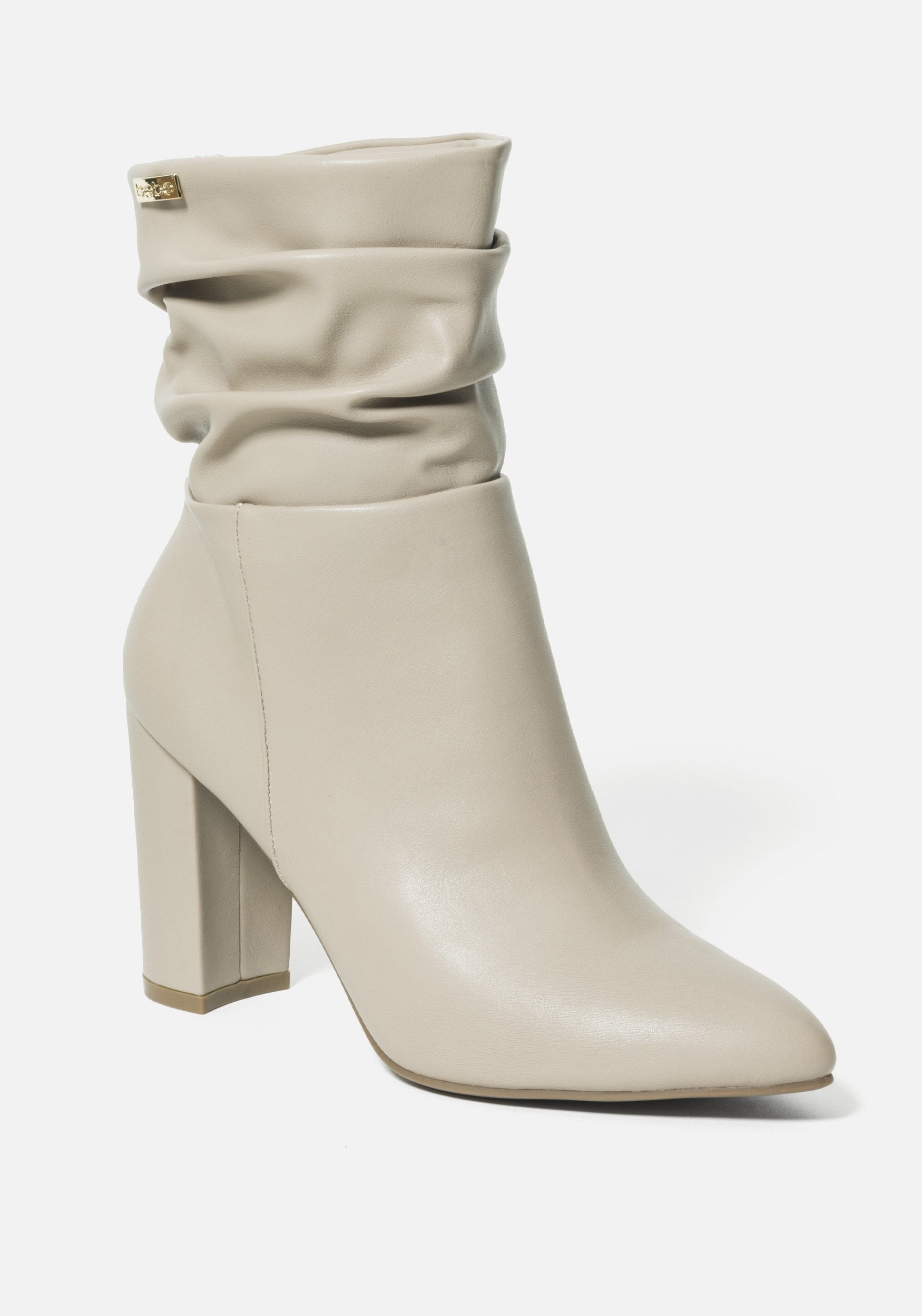 Bebe Women's Savita Slouch Booties, Size 6 in TAUPE Synthetic