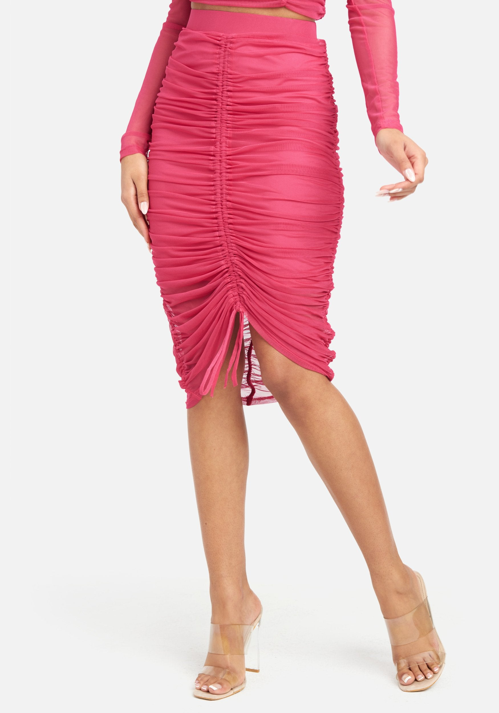 Bebe Women's 4 Way Stretch Mesh Ruched Skirt, Size XS in Cerise Spandex