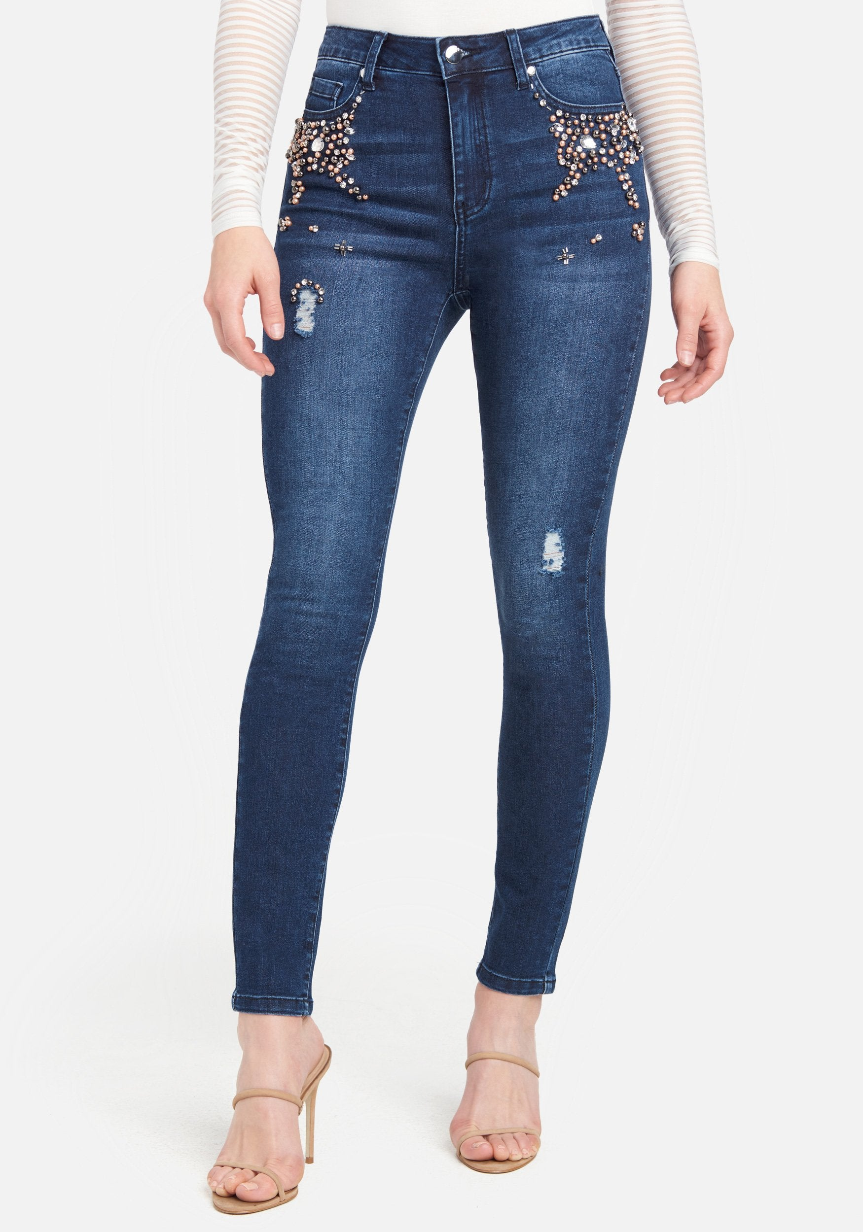 Bebe Women's Pearl And Rhinestone Skinny Jeans, Size 25 in Medium Indigo Wash Cotton/Spandex