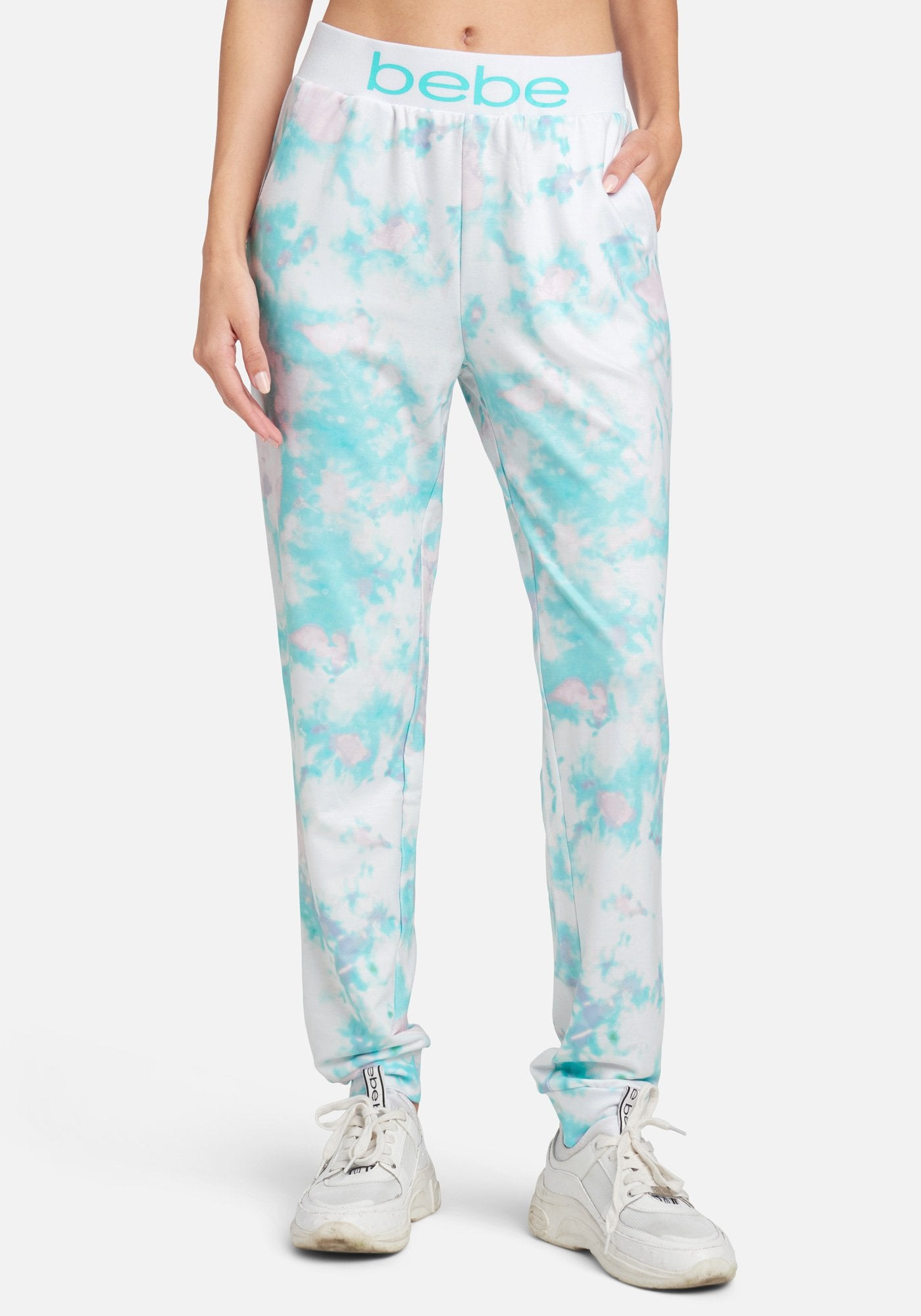 Women's Bebe Logo Printed Jogger Pant, Size Small in Blue Lagoon Mix Spandex