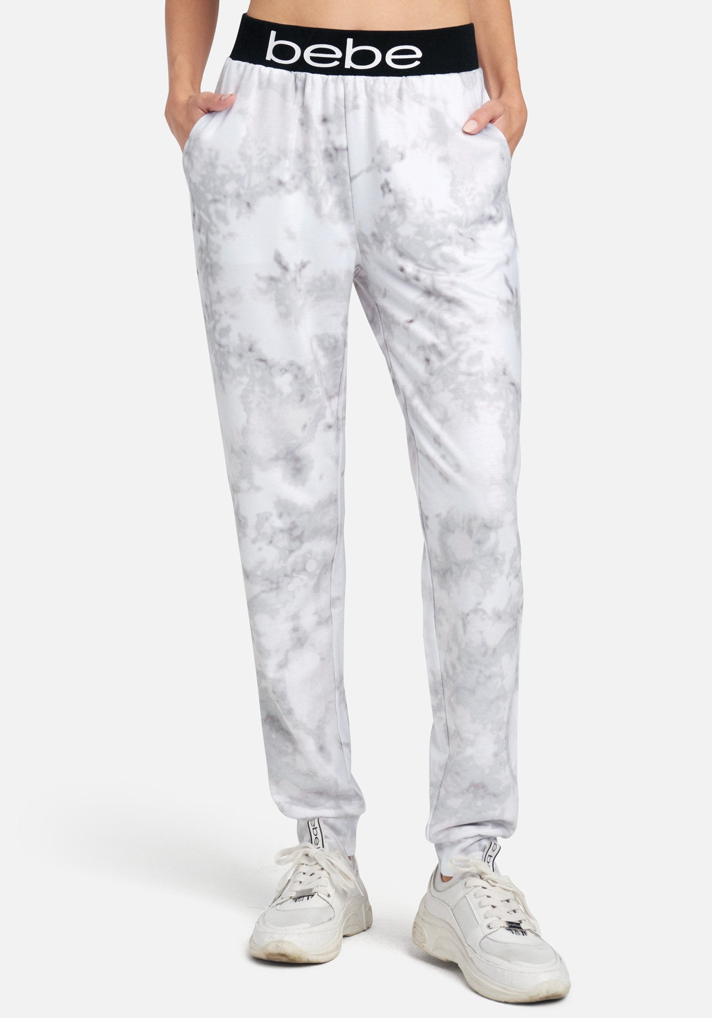 Women's Bebe Logo Printed Jogger Pant, Size Small in Light Grey Mix Spandex