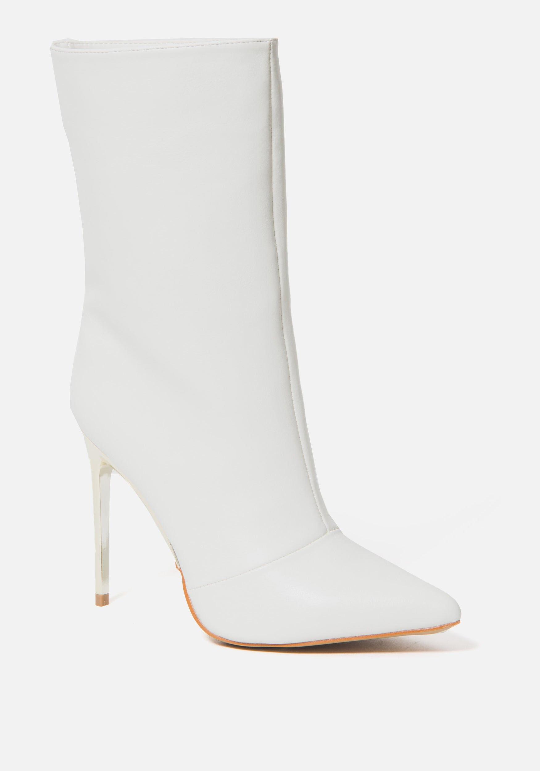 Bebe Women's Vanila Mid High Booties, Size 6 in WINTER WHITE Synthetic