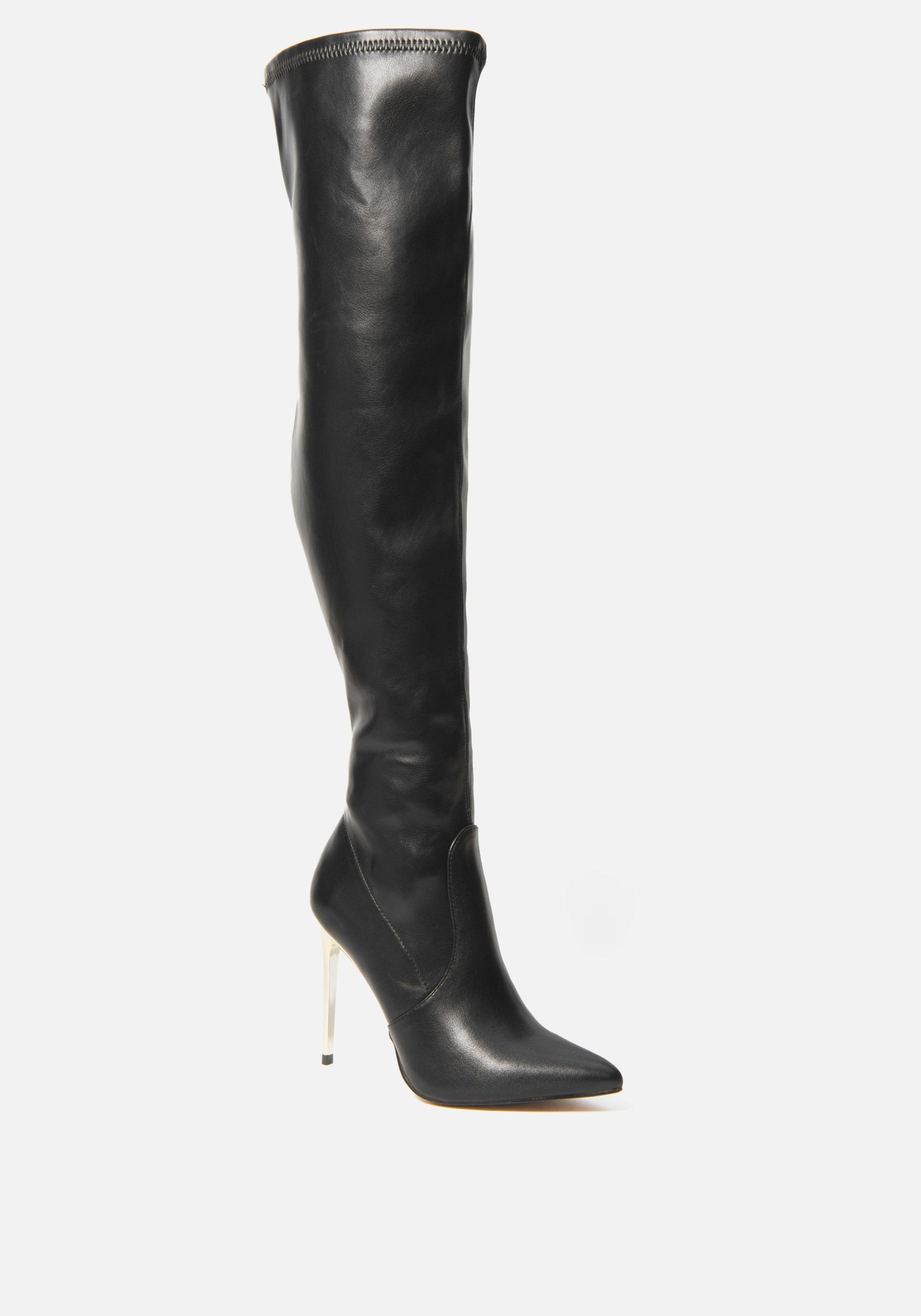 Bebe Women's Valirya Over the Knee Boots, Size 6 in BLACK Synthetic