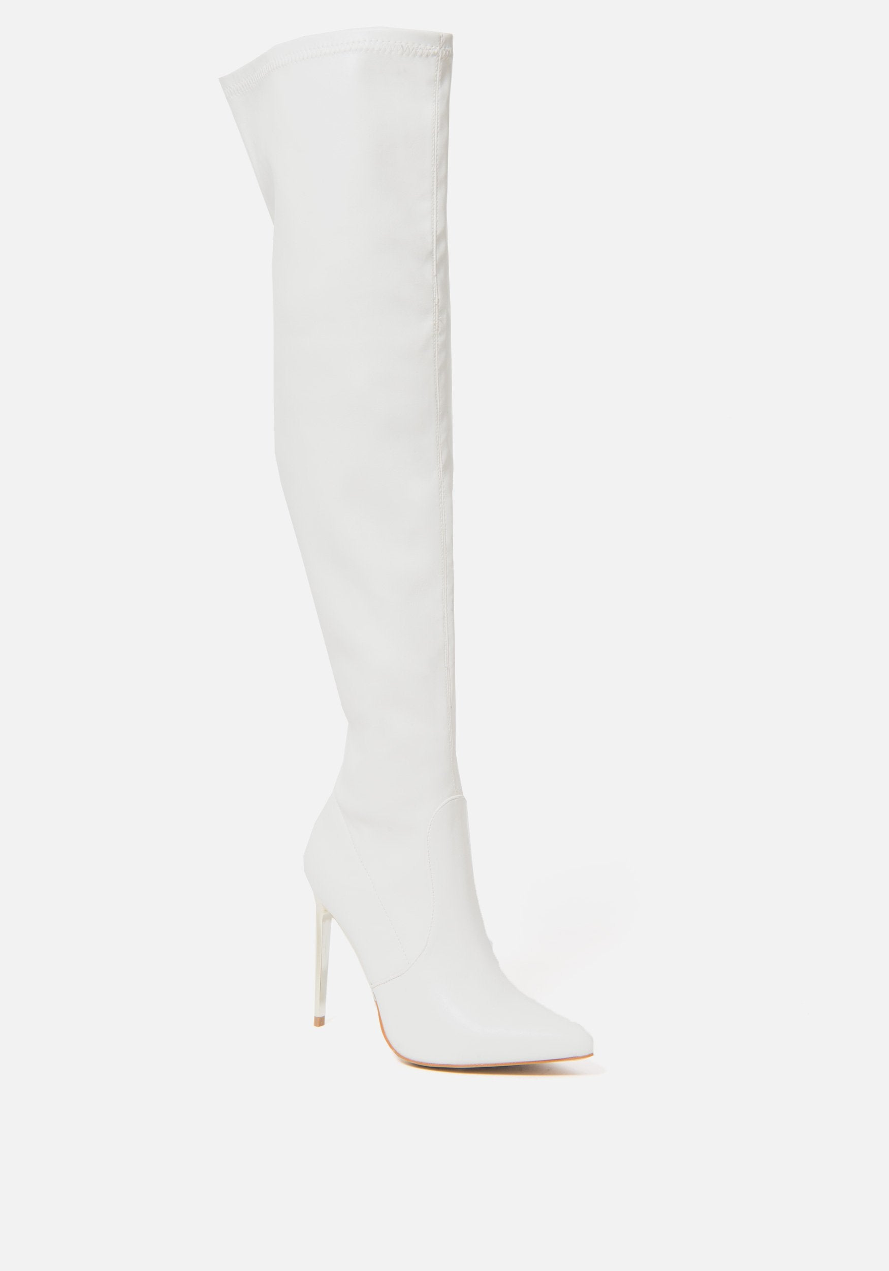 Bebe Women's Valirya Over the Knee Boots, Size 6 in WINTER WHITE Synthetic