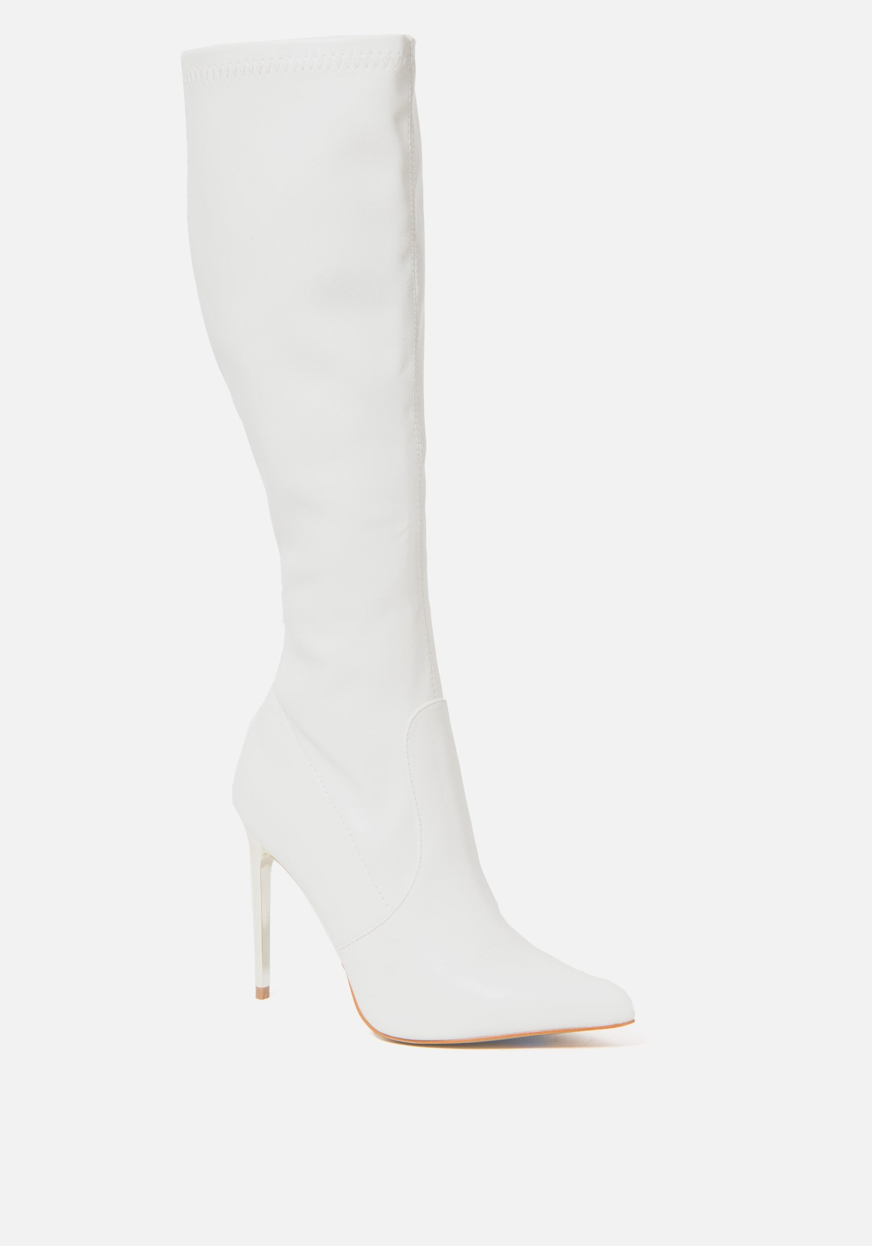 Bebe Women's Valeria Knee High Boots, Size 6 in WINTER WHITE Synthetic