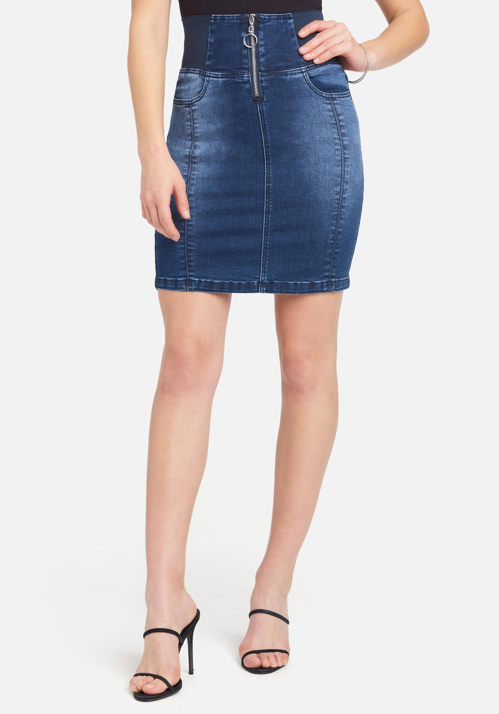 Bebe Women's Elastic High Waist Jean Skirt, Size 25 in Med Indigo Wash Cotton/Spandex
