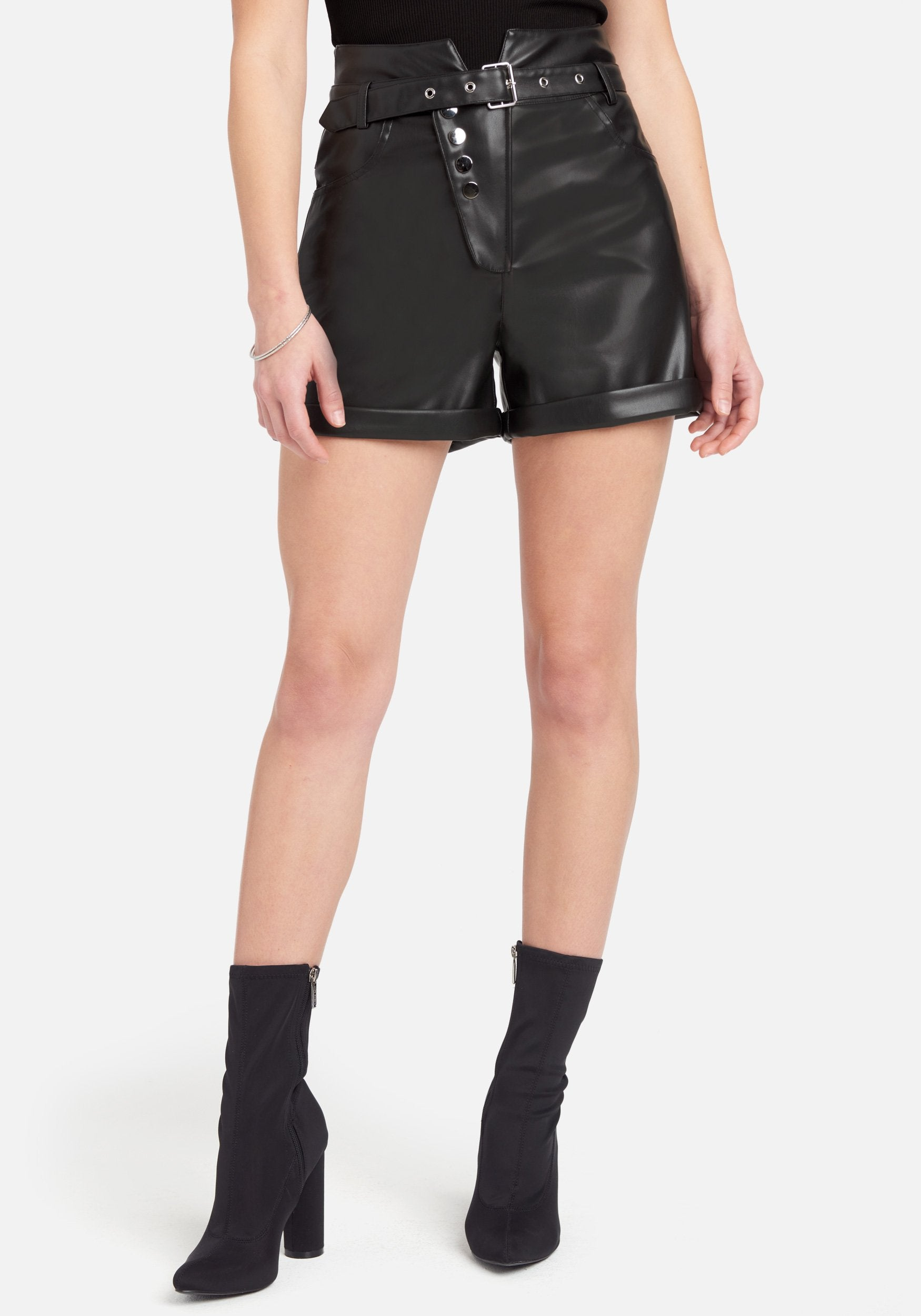 Bebe Women's Faux Leather Exposed Button Shorts, Size XS in Black Polyurethane