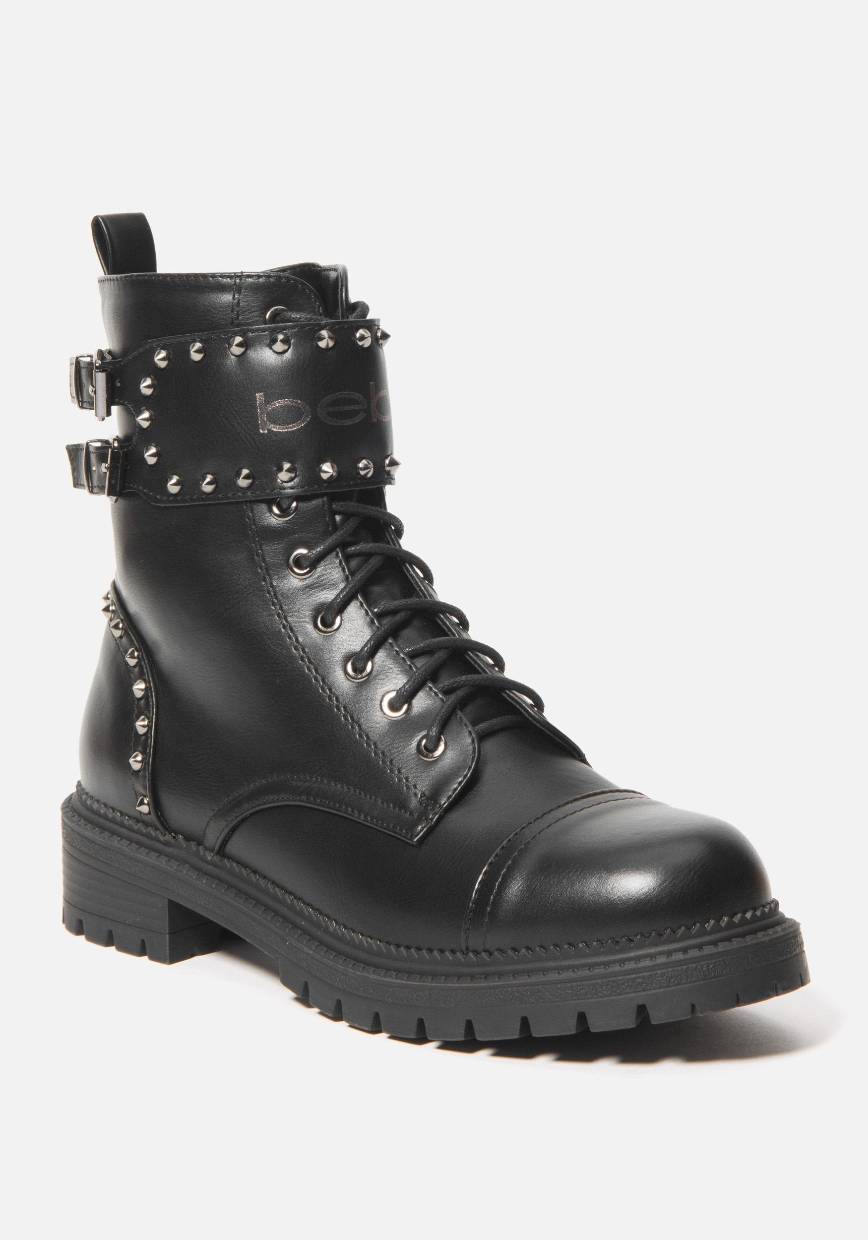 Bebe Women's Dalila Combat Boots, Size 6 in Black Synthetic