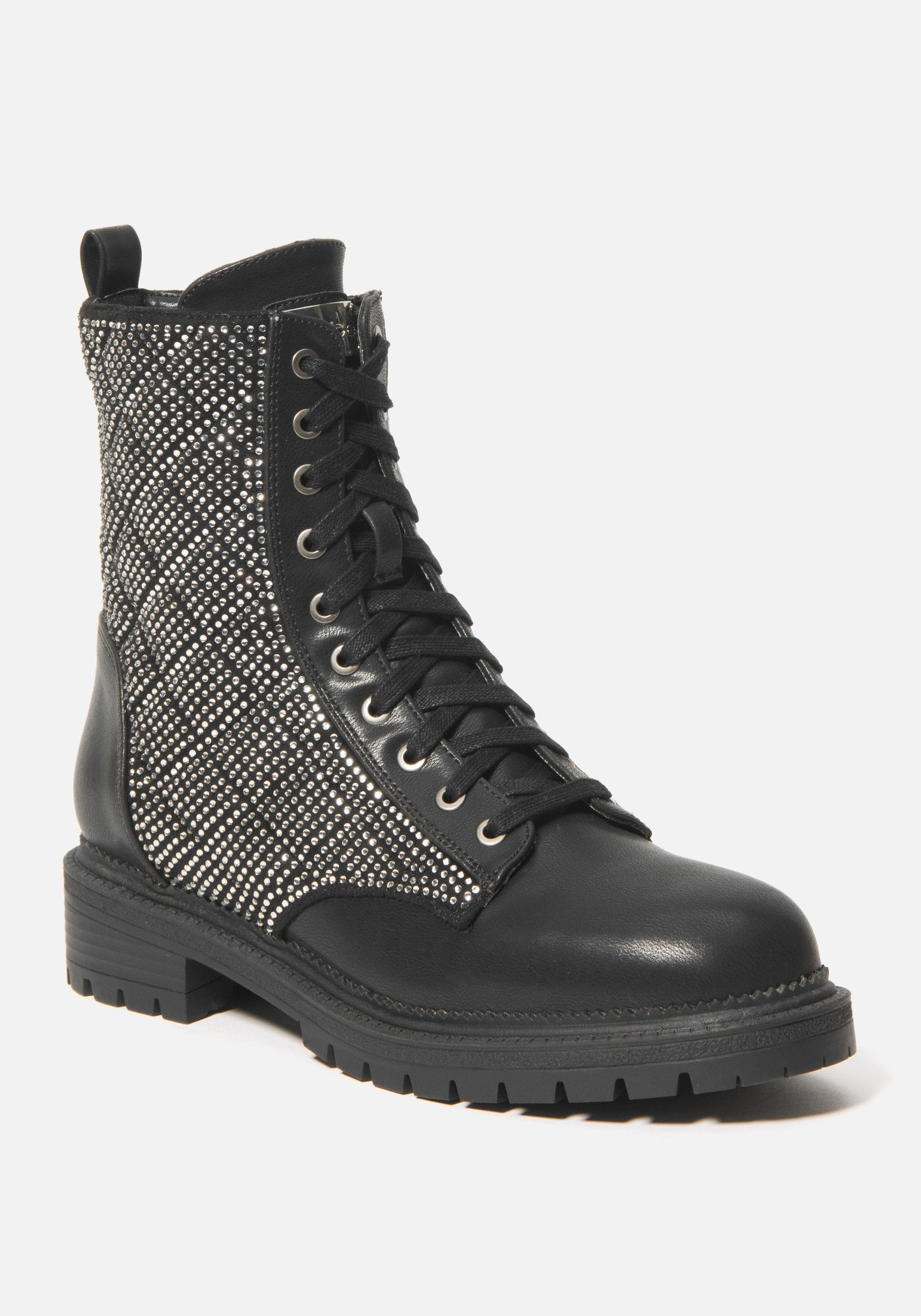 Bebe Women's Dorienne Lace Combat Boots, Size 6 in Black Synthetic