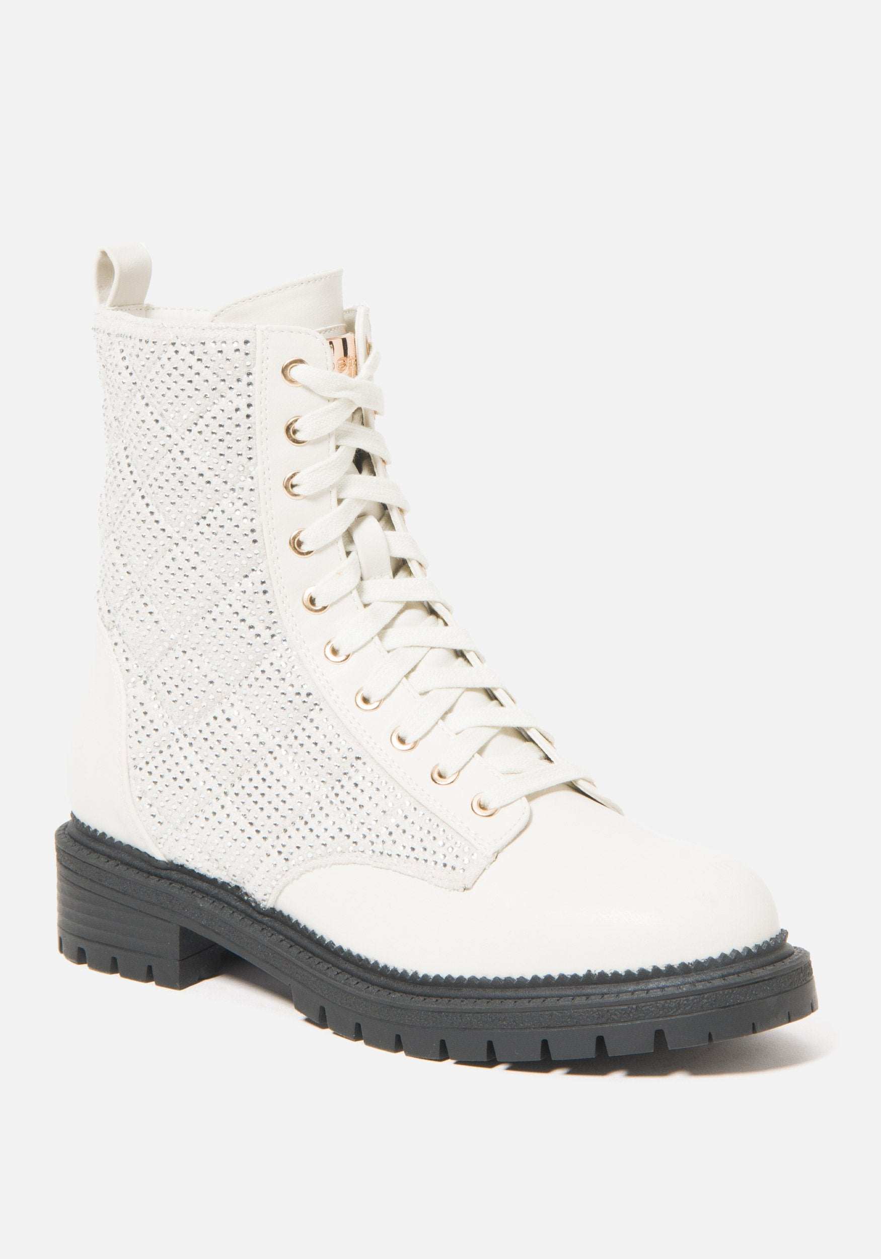 Bebe Women's Dorienne Lace Combat Boots, Size 6 in Off White Synthetic