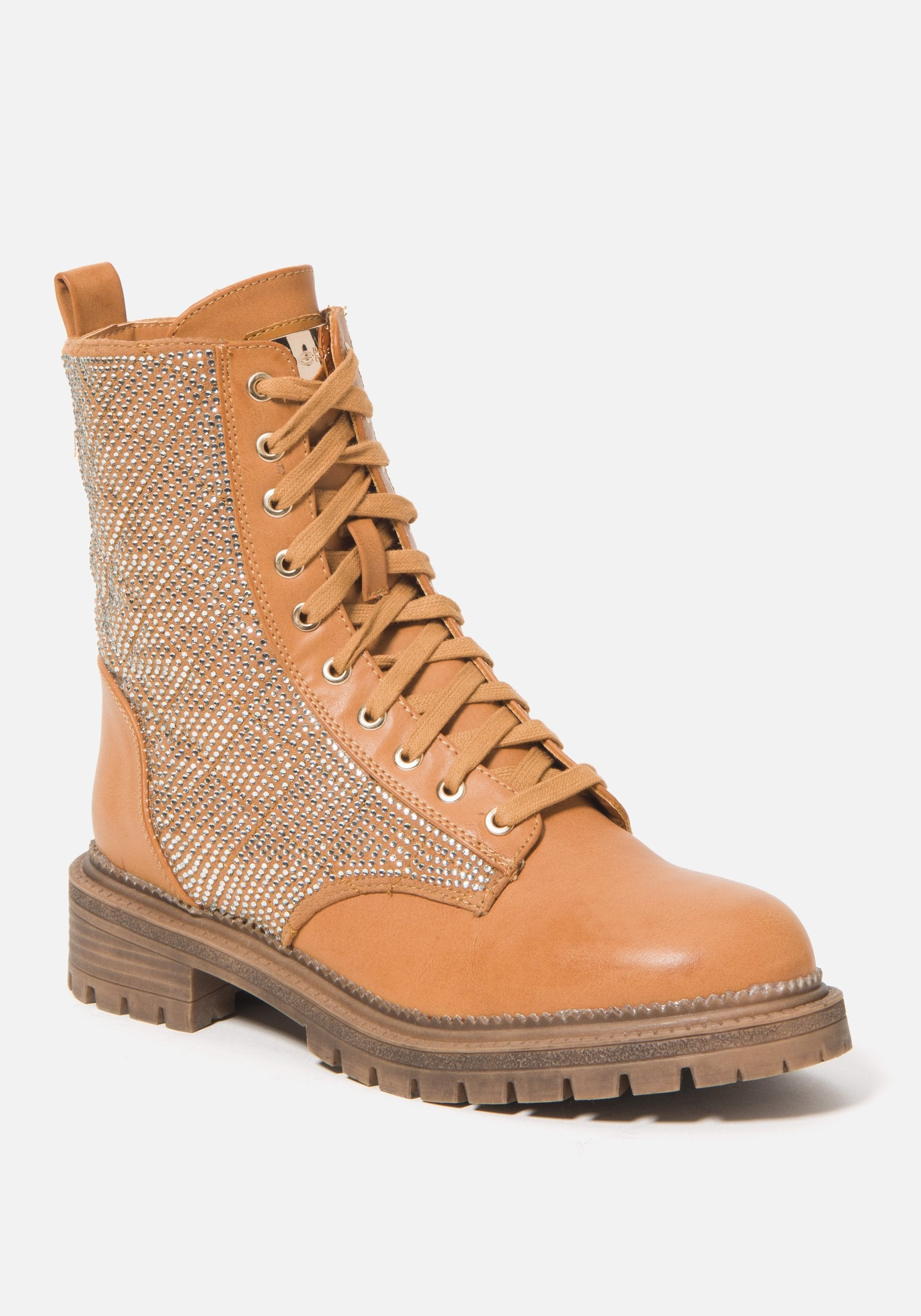 Bebe Women's Dorienne Lace Combat Boots, Size 6 in Wheat Synthetic