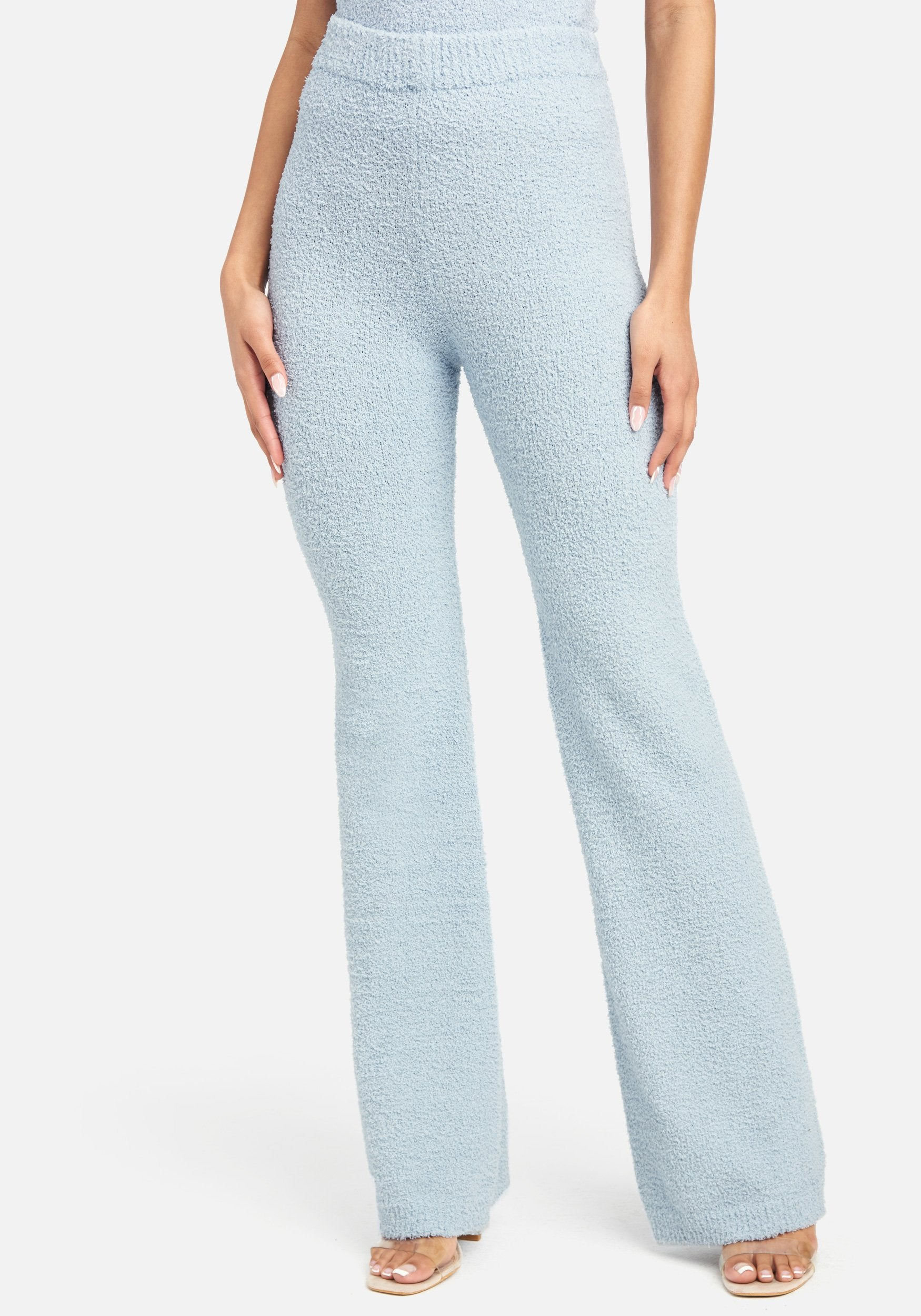 Bebe Women's Chenille Knit Pant, Size XS in Ice Blue Polyester