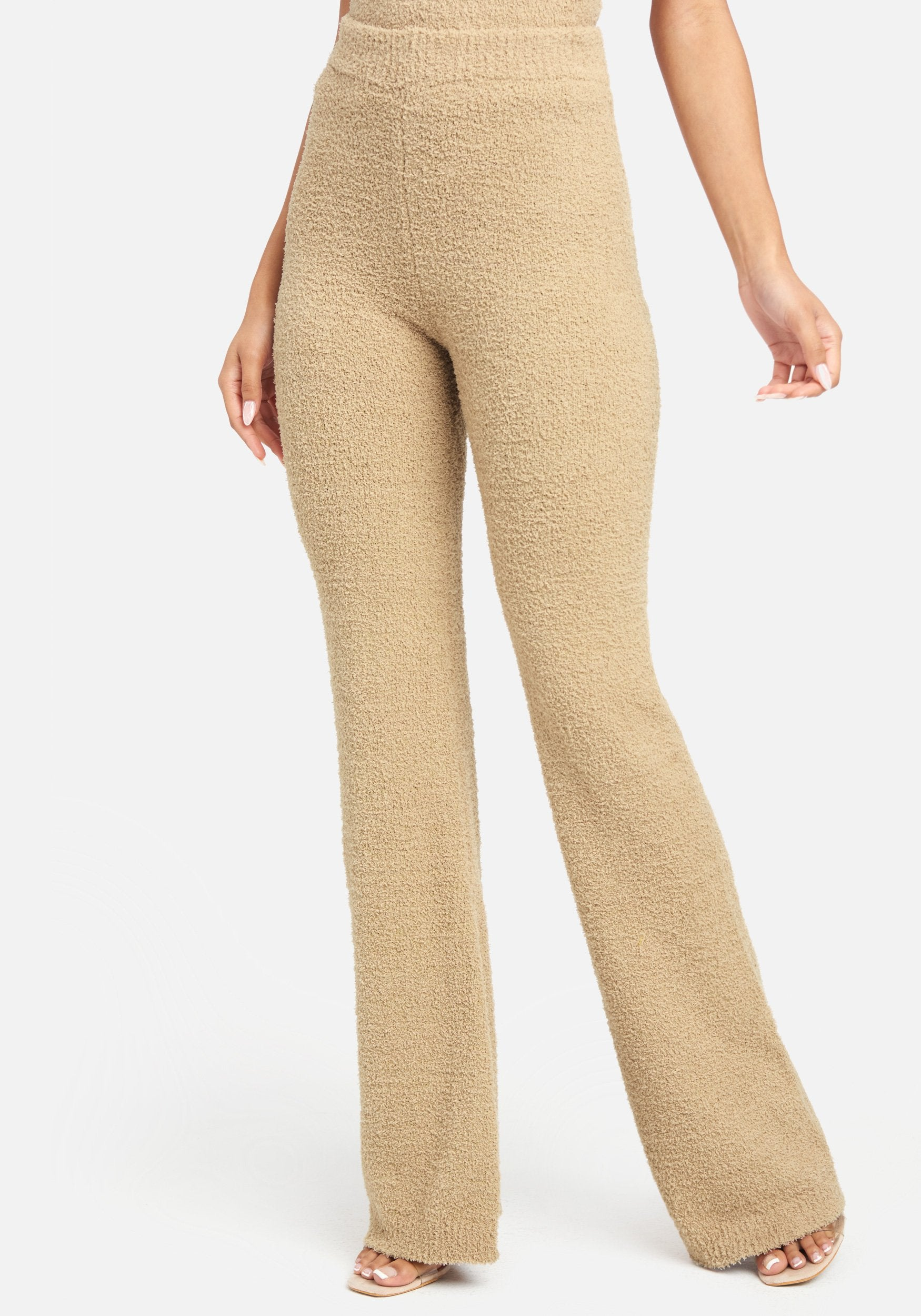 Bebe Women's Chenille Knit Pant, Size XS in Tan Polyester