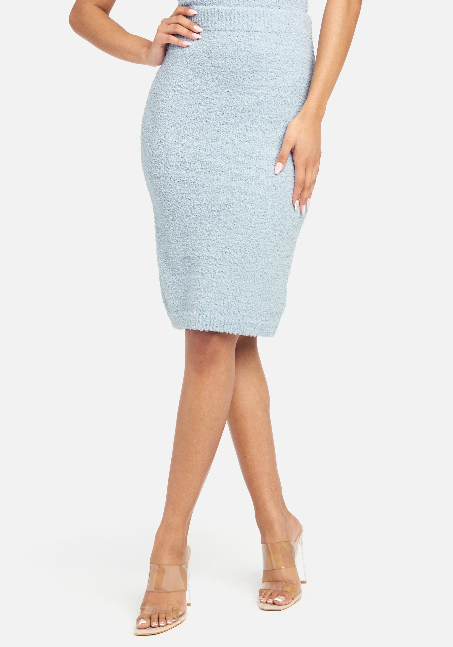 Bebe Women's Chenille Knit Skirt, Size XS in Ice Blue Polyester