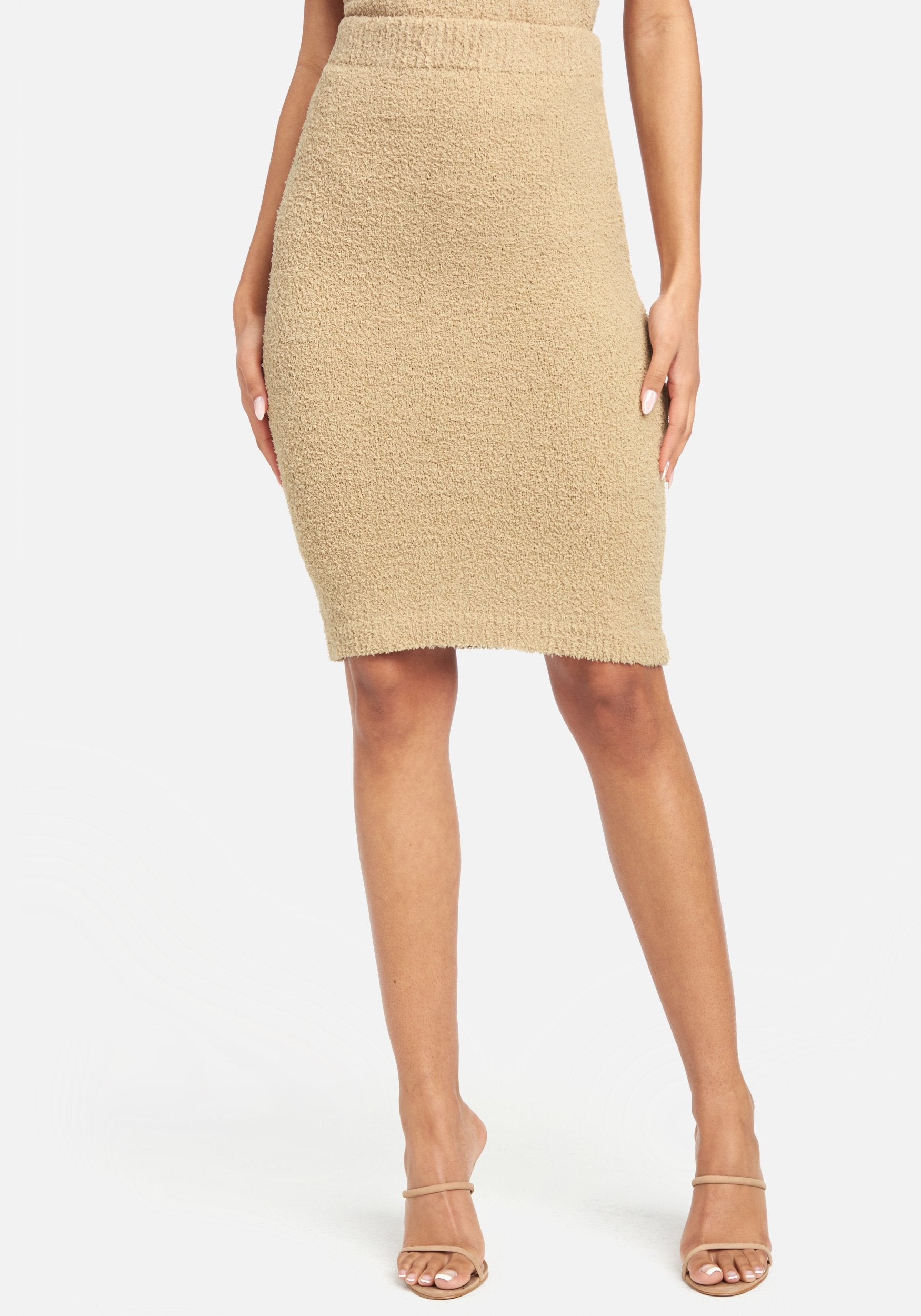 Bebe Women's Chenille Knit Skirt, Size XS in Tan Polyester
