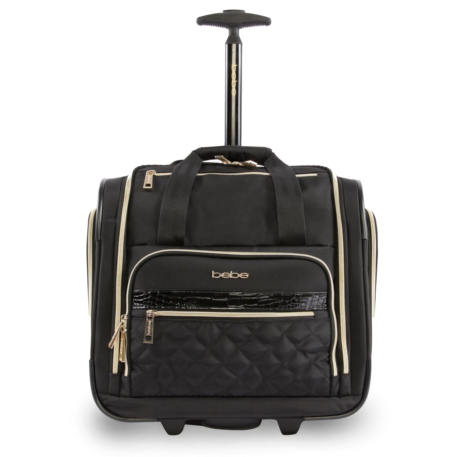Bebe Women's Quilted 15-Inch Underseat Carry-On Bag, Size 15 Inch in Black