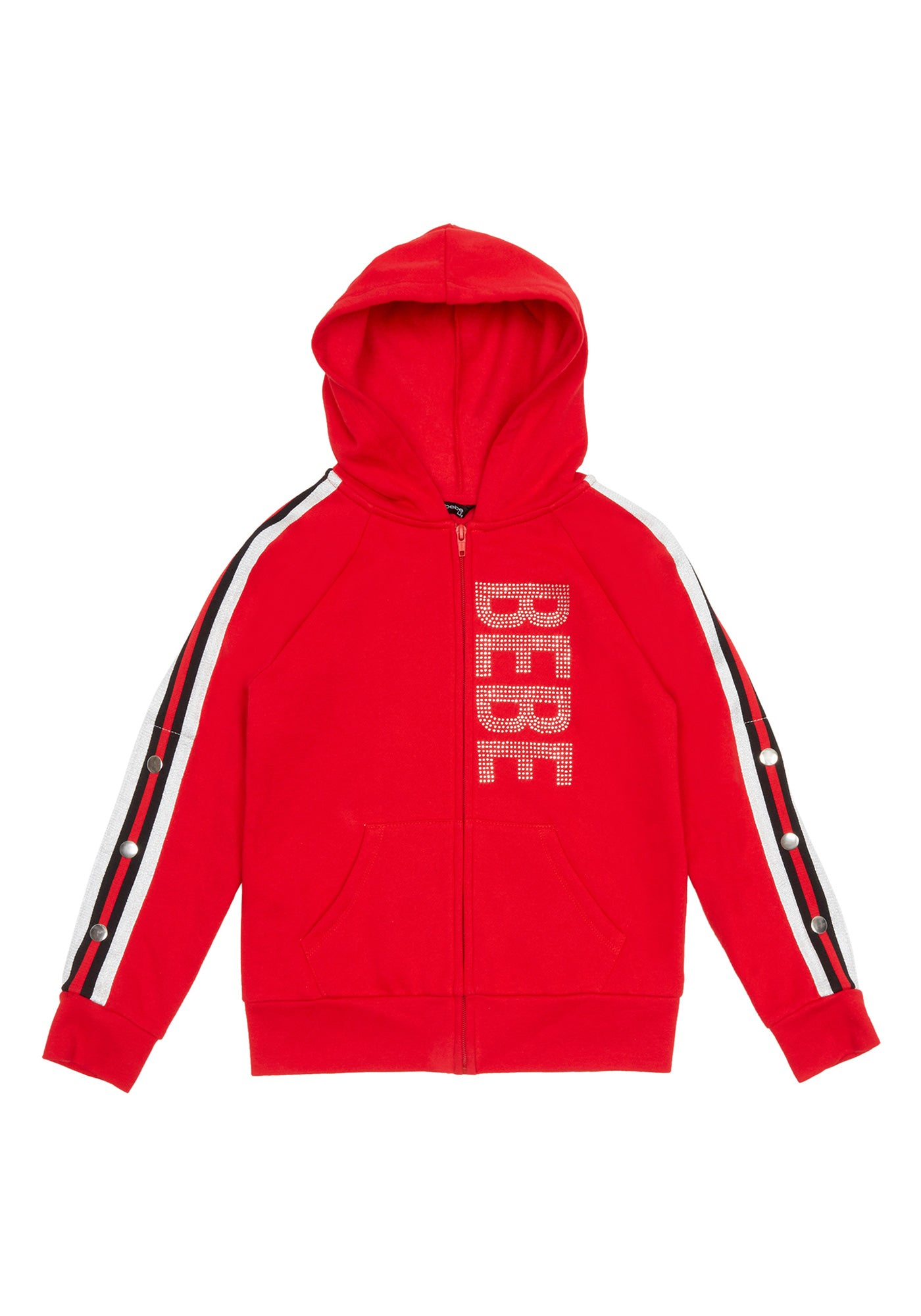 Image of Bebe Women's Girls Sparkly Logo Fleece Jacket, Size M(10-12) in Red Cotton