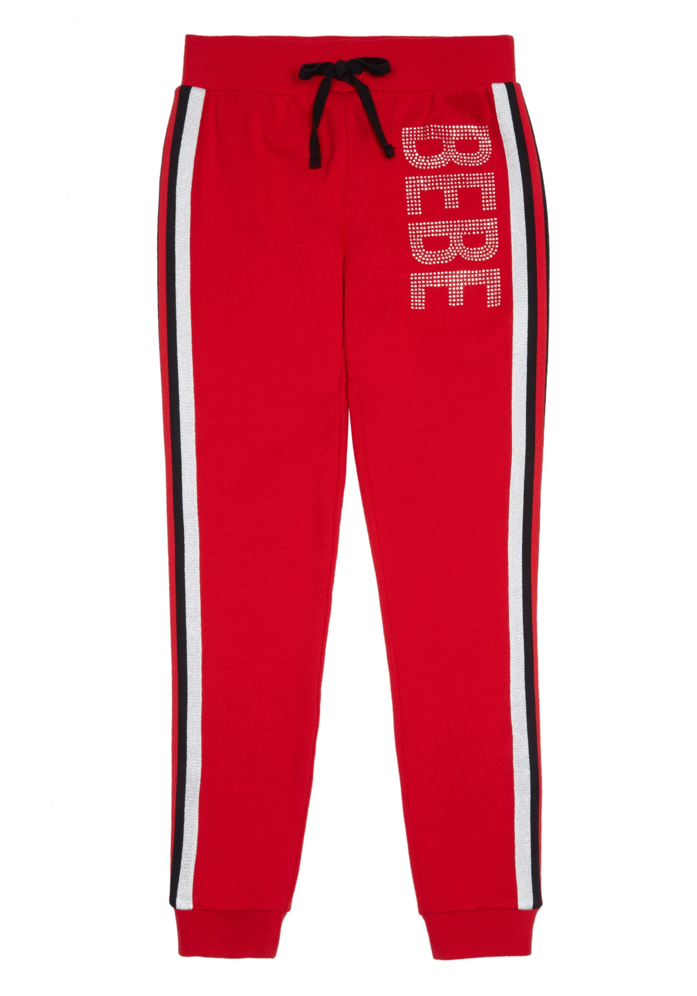 Bebe Women's Girls Sparkly Logo Fleece Pant, Size S(7-8) in Red Cotton