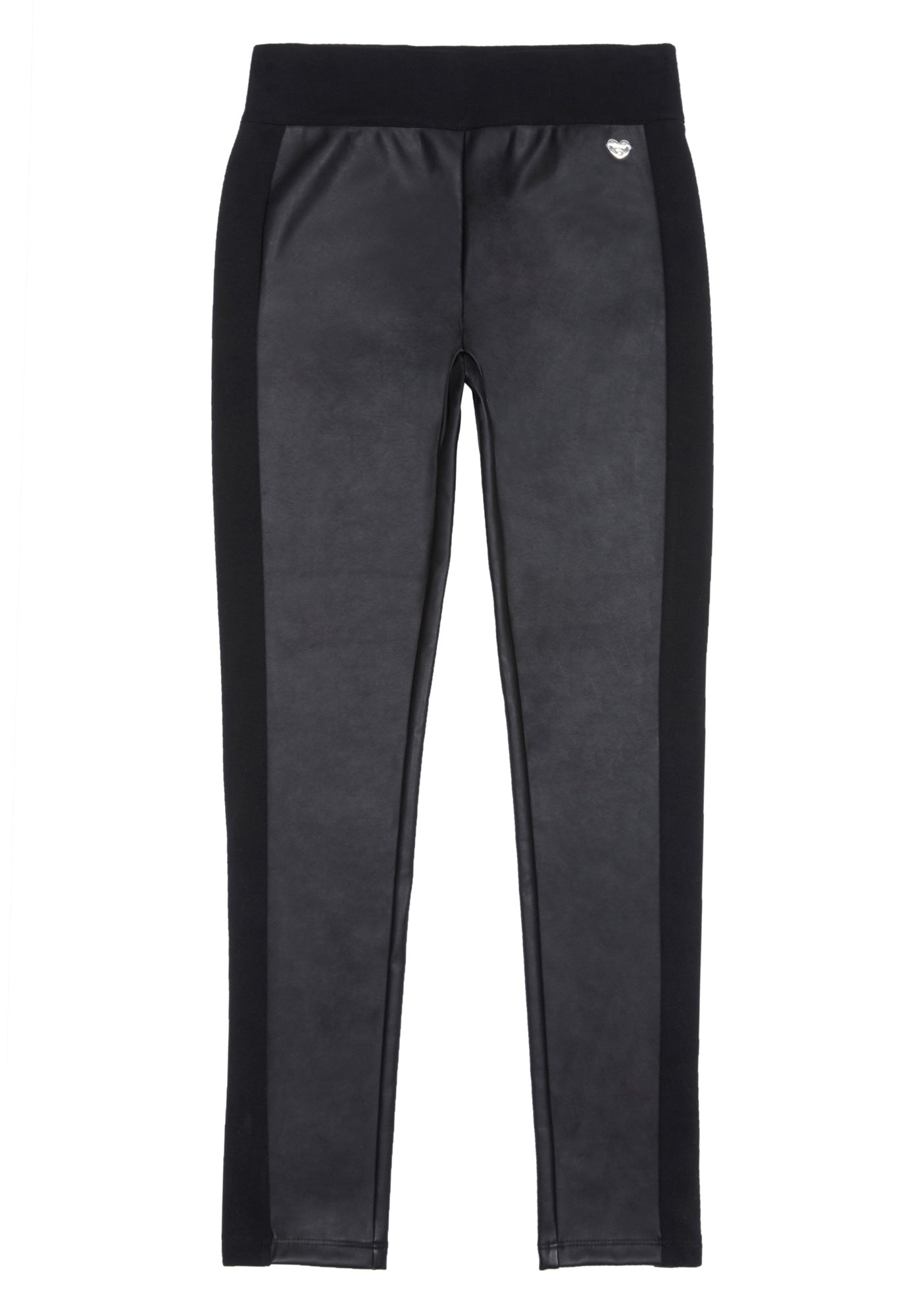 Bebe Women's Girls Faux Leather Ponte Pant, Size S(7-8) in Black Leather/Cotton