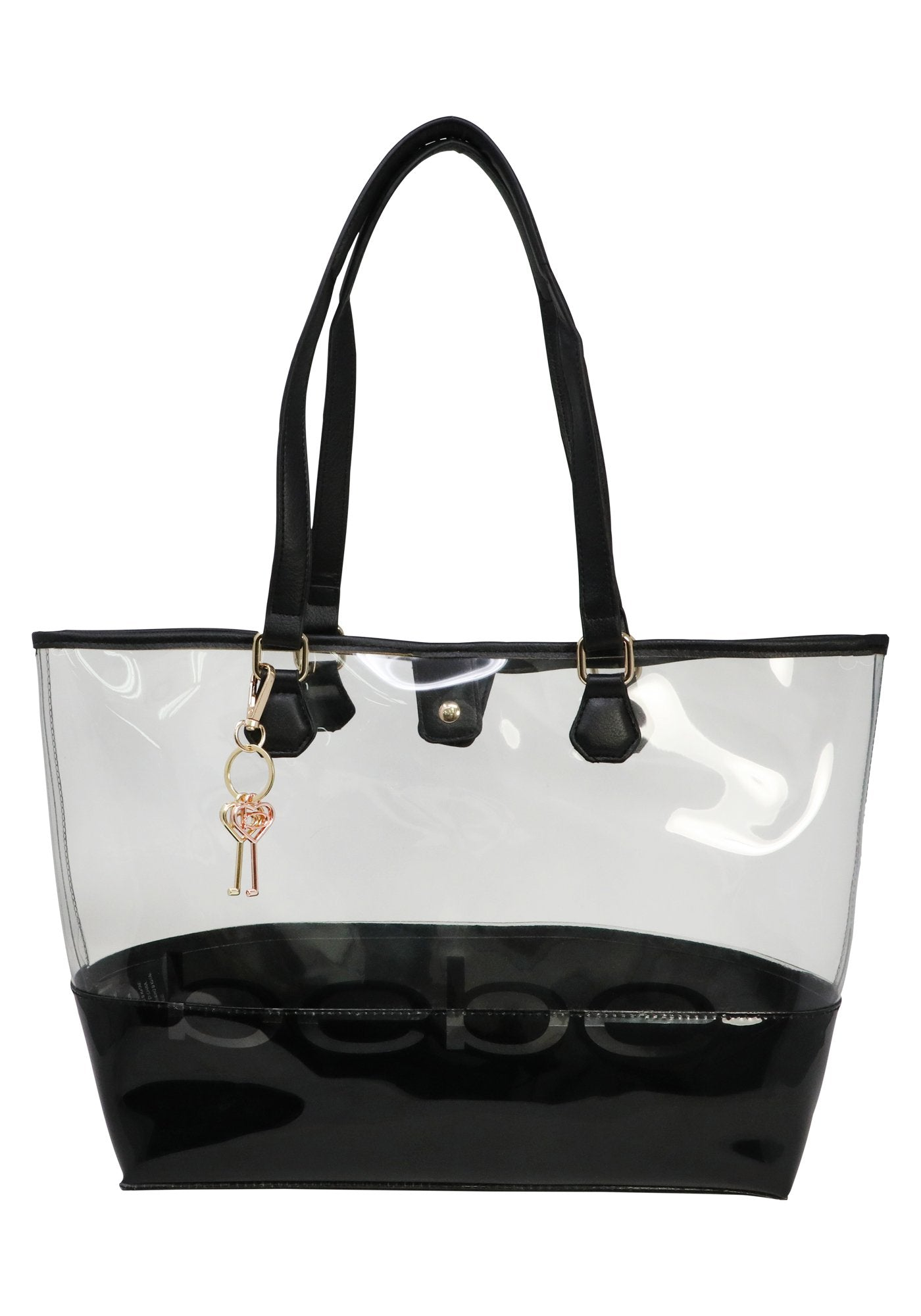 Bebe Women's Lindsey Clear Tote Bag, Size X-Large in Black