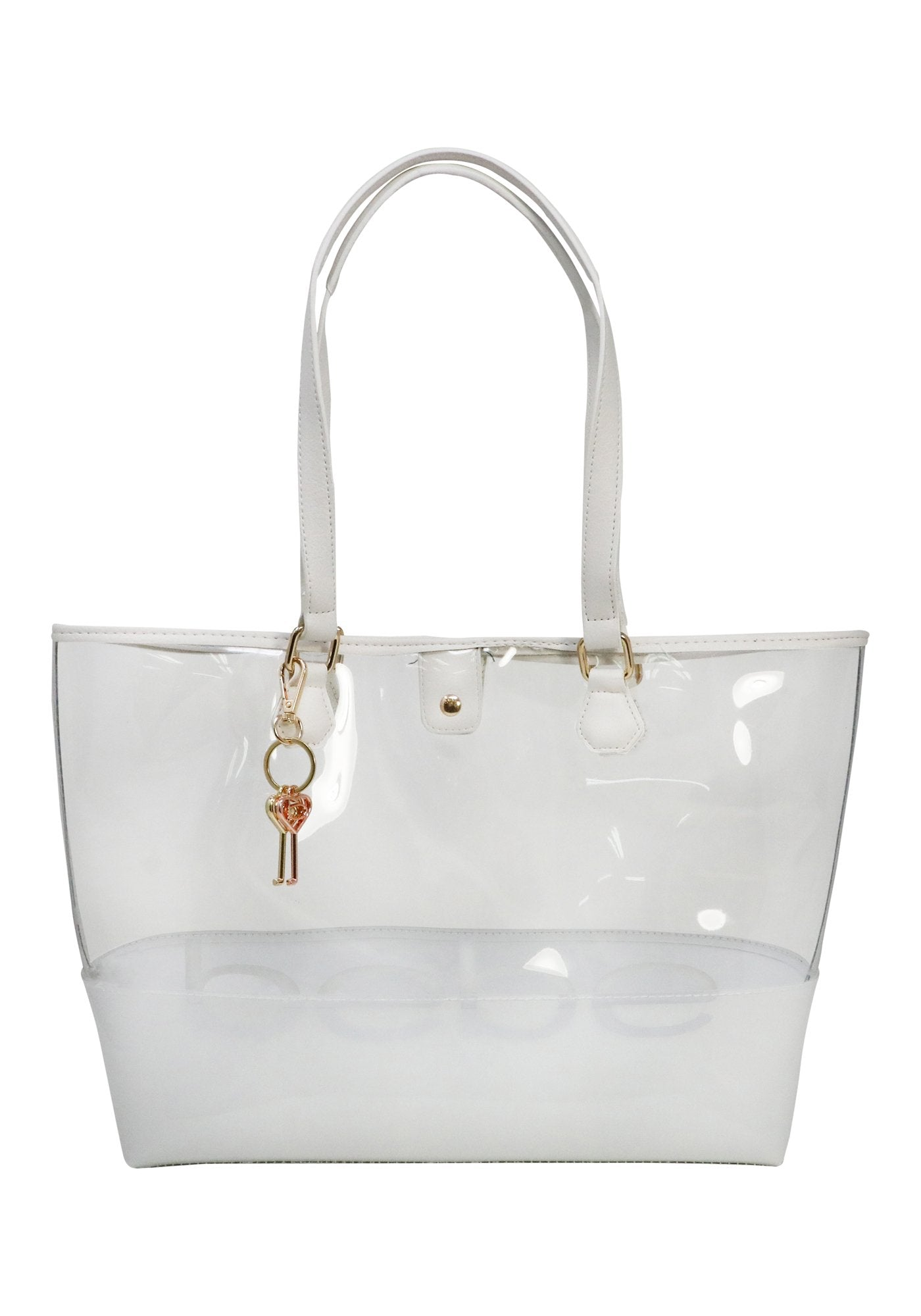 Bebe Women's Lindsey Clear Tote Bag, Size X-Large in White