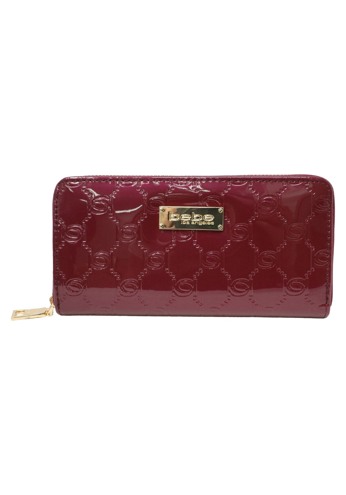 Bebe Women's Dana Patent Wallet, Size Mini in Berry