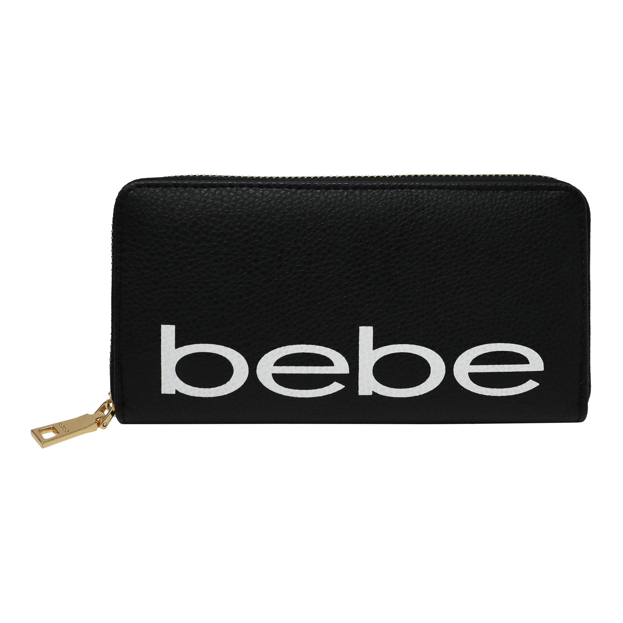 Bebe Women's Fabiola Zip Around Wallet in Black/White Polyester