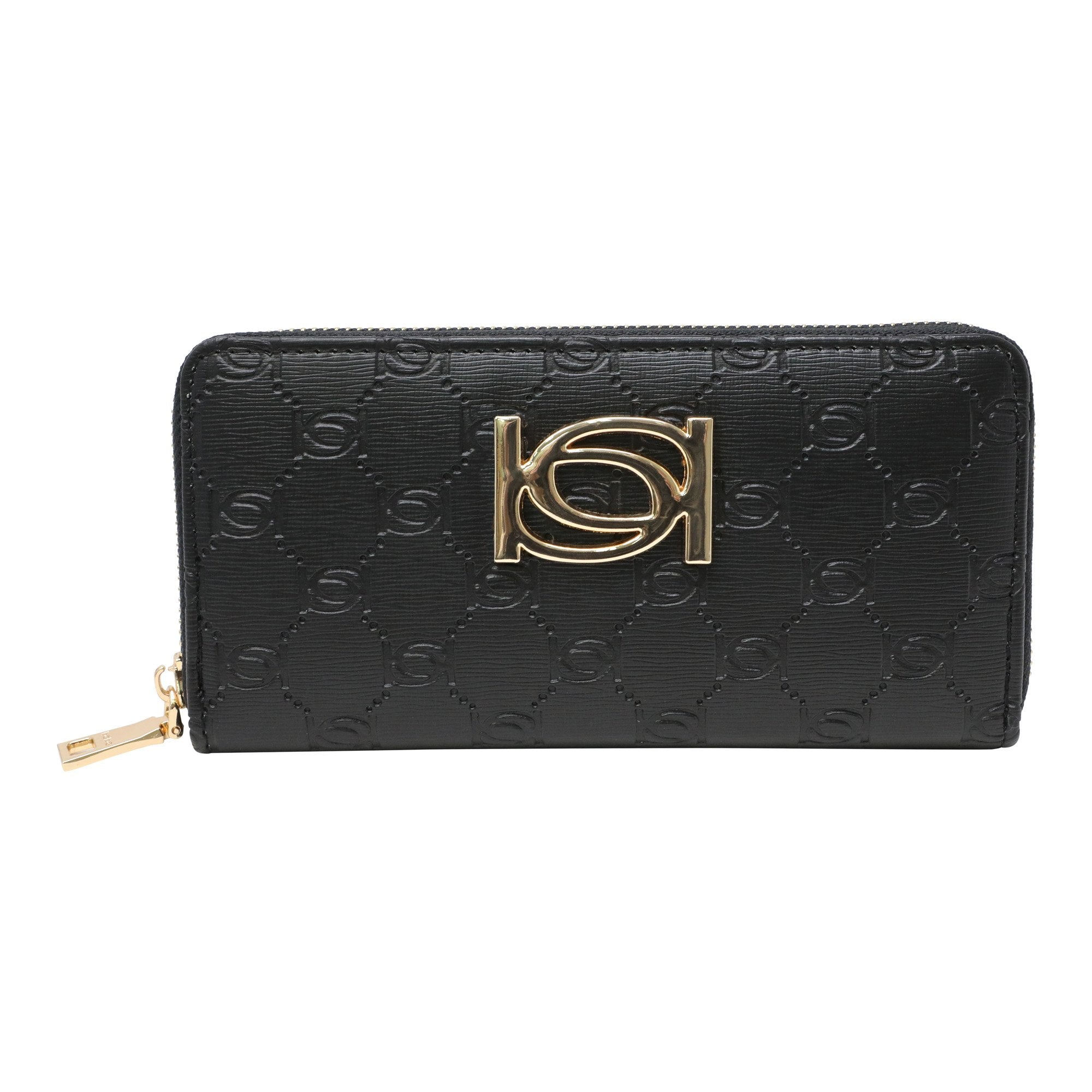 Bebe Women's Patricia Emboss Zip Around Wallet in Black Polyester