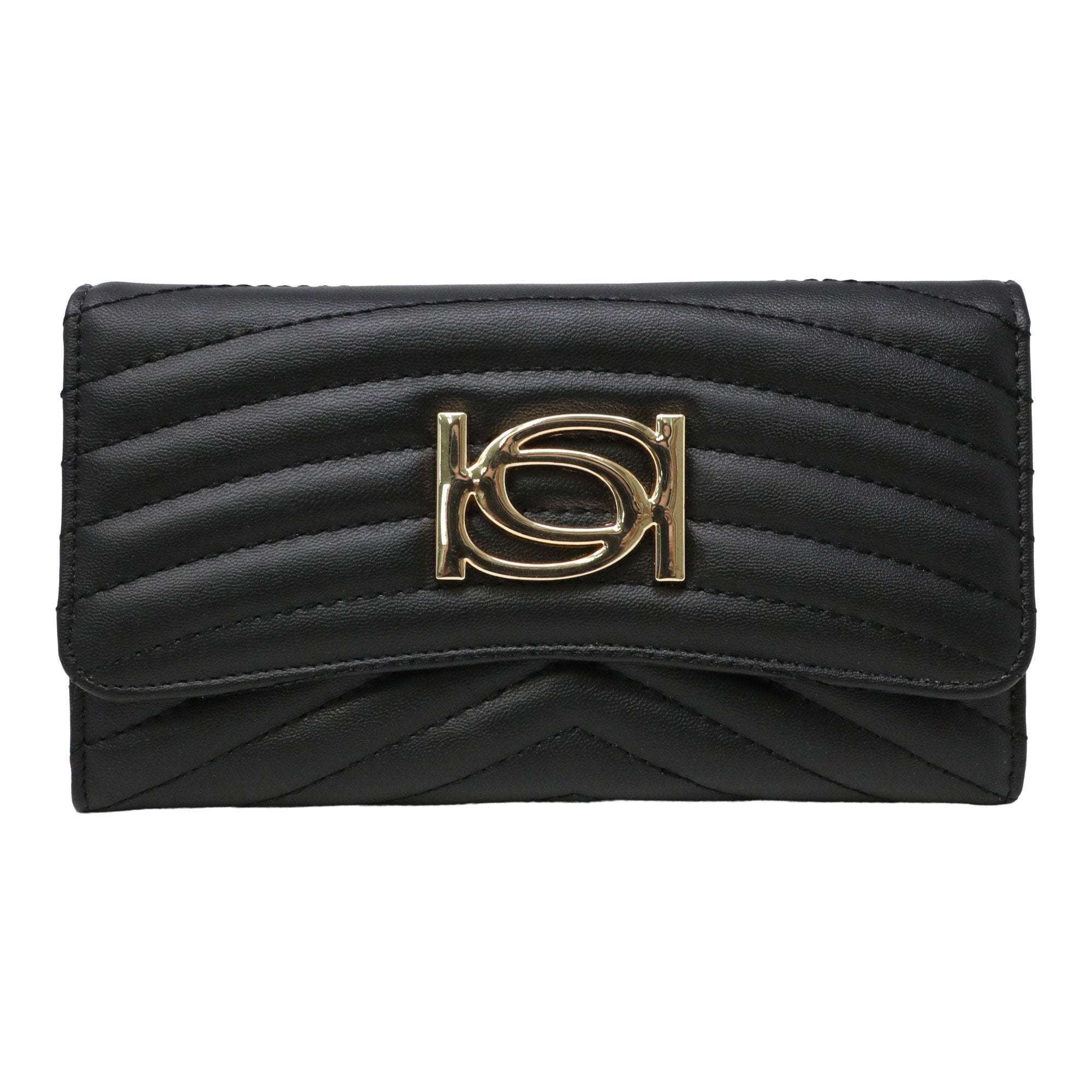 Bebe Women's Daisy Flap Wallet in Black Polyester