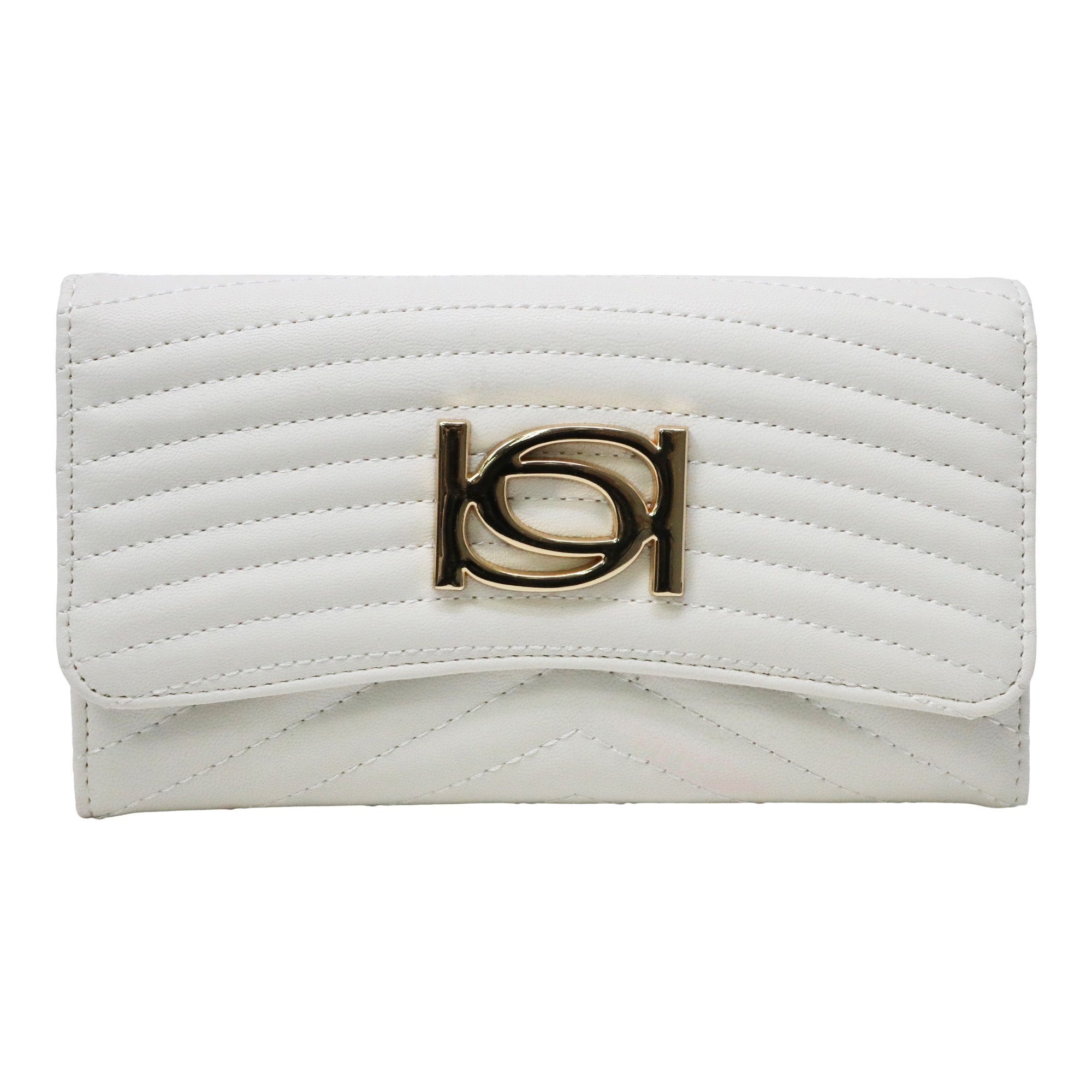 Bebe Women's Daisy Flap Wallet in White Polyester