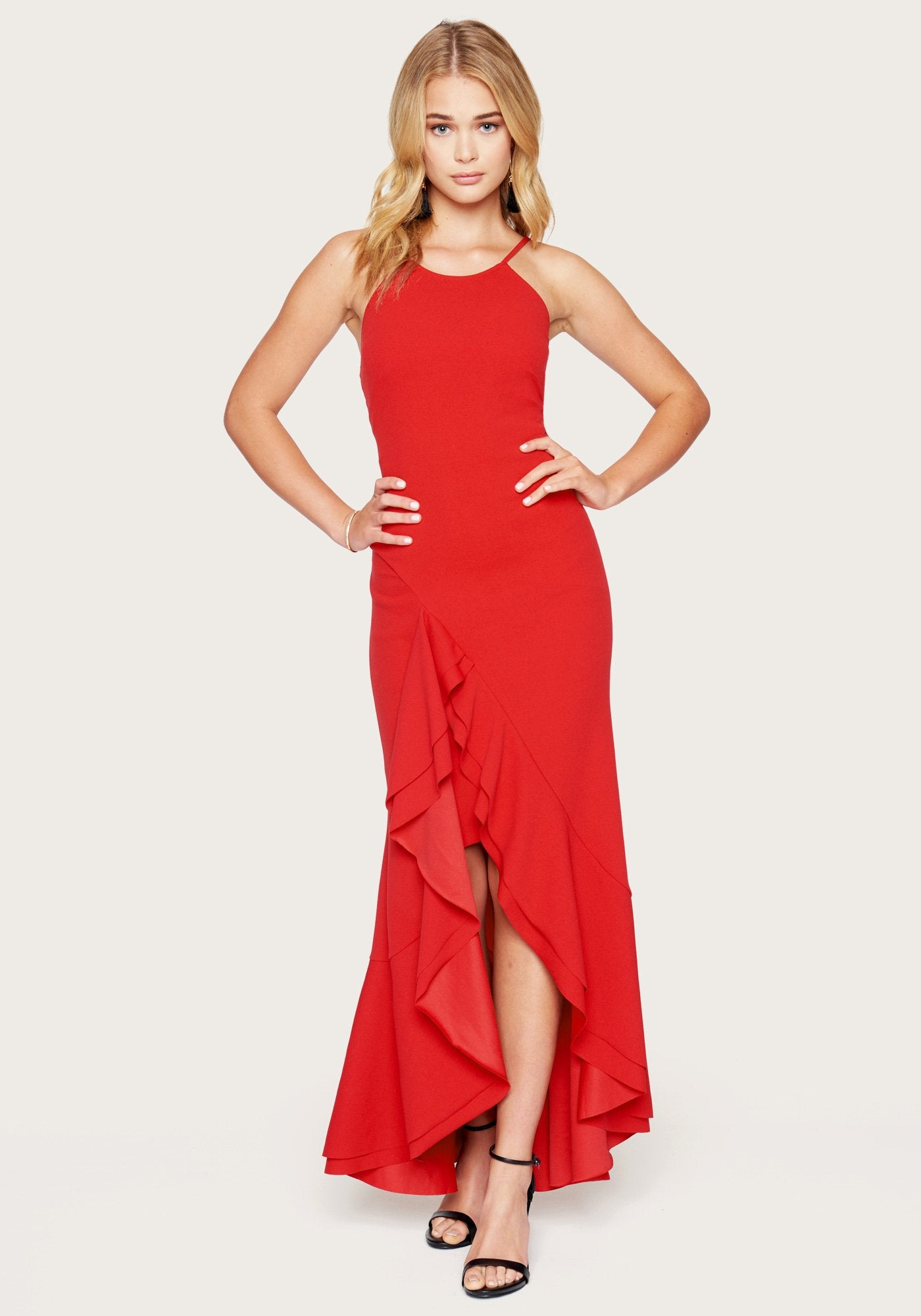 Bebe Women's Flounce Strappy Maxi Dress, Size 00 in Red Spandex
