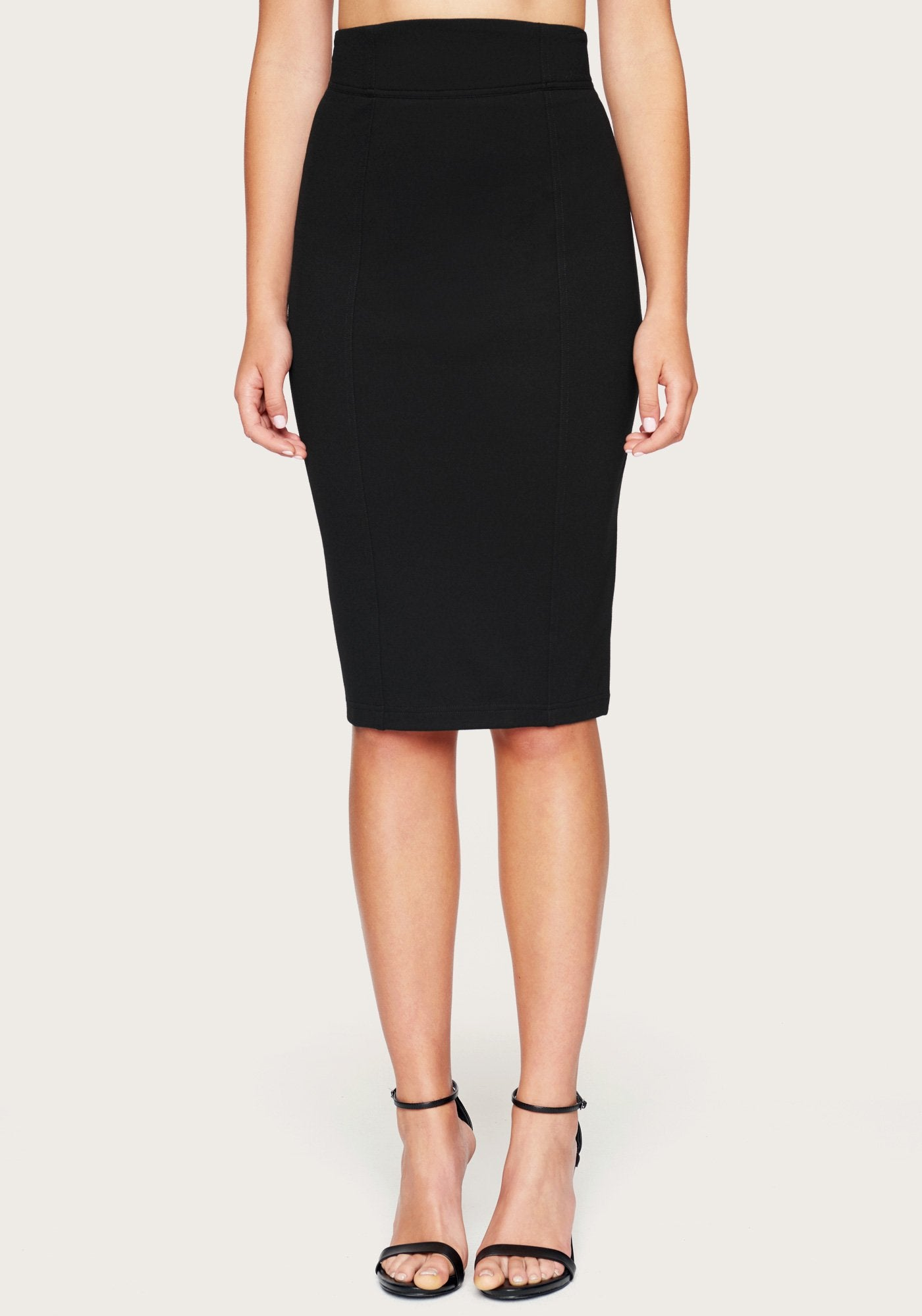 Bebe Women's Seamed Ponte Skirt, Size XXS in Black Spandex/Nylon