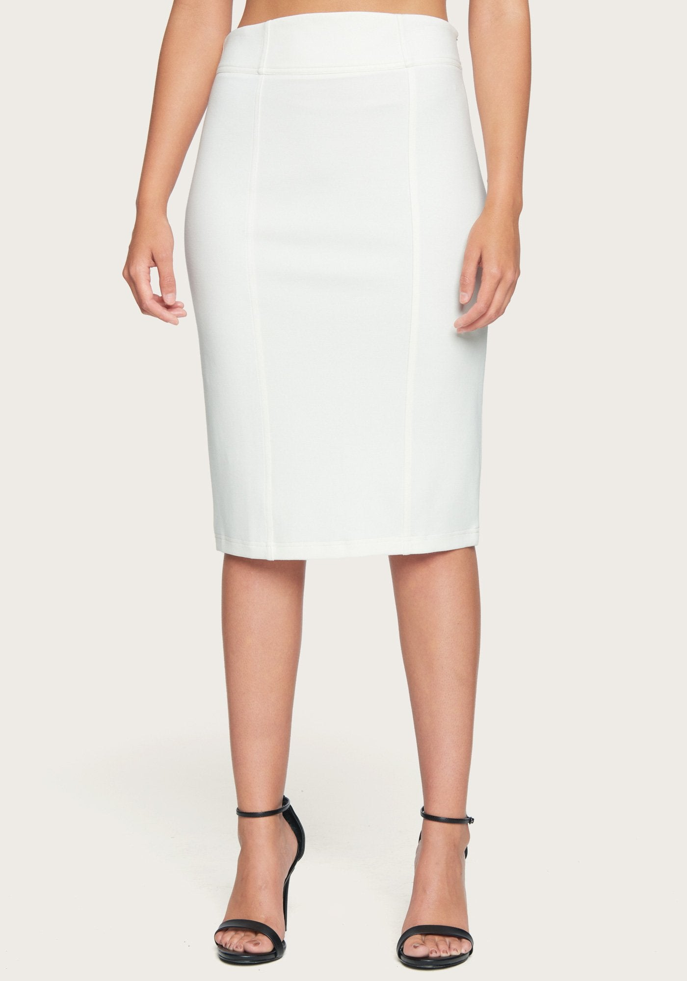 Bebe Women's Seamed Ponte Skirt, Size XXS in Egret Spandex/Nylon