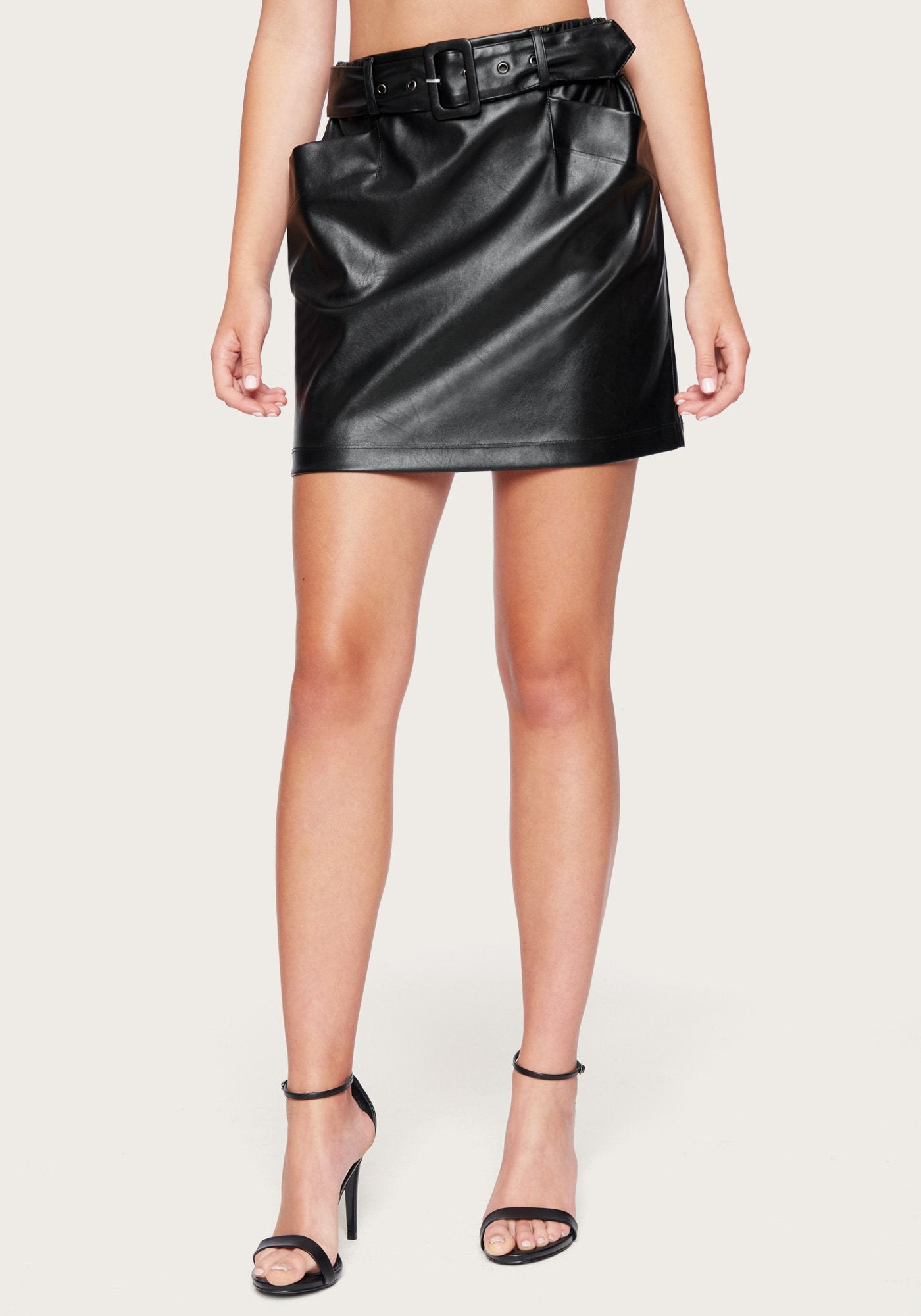 Bebe Women's Faux Leather Belted Skirt, Size 00 in Black Polyurethane