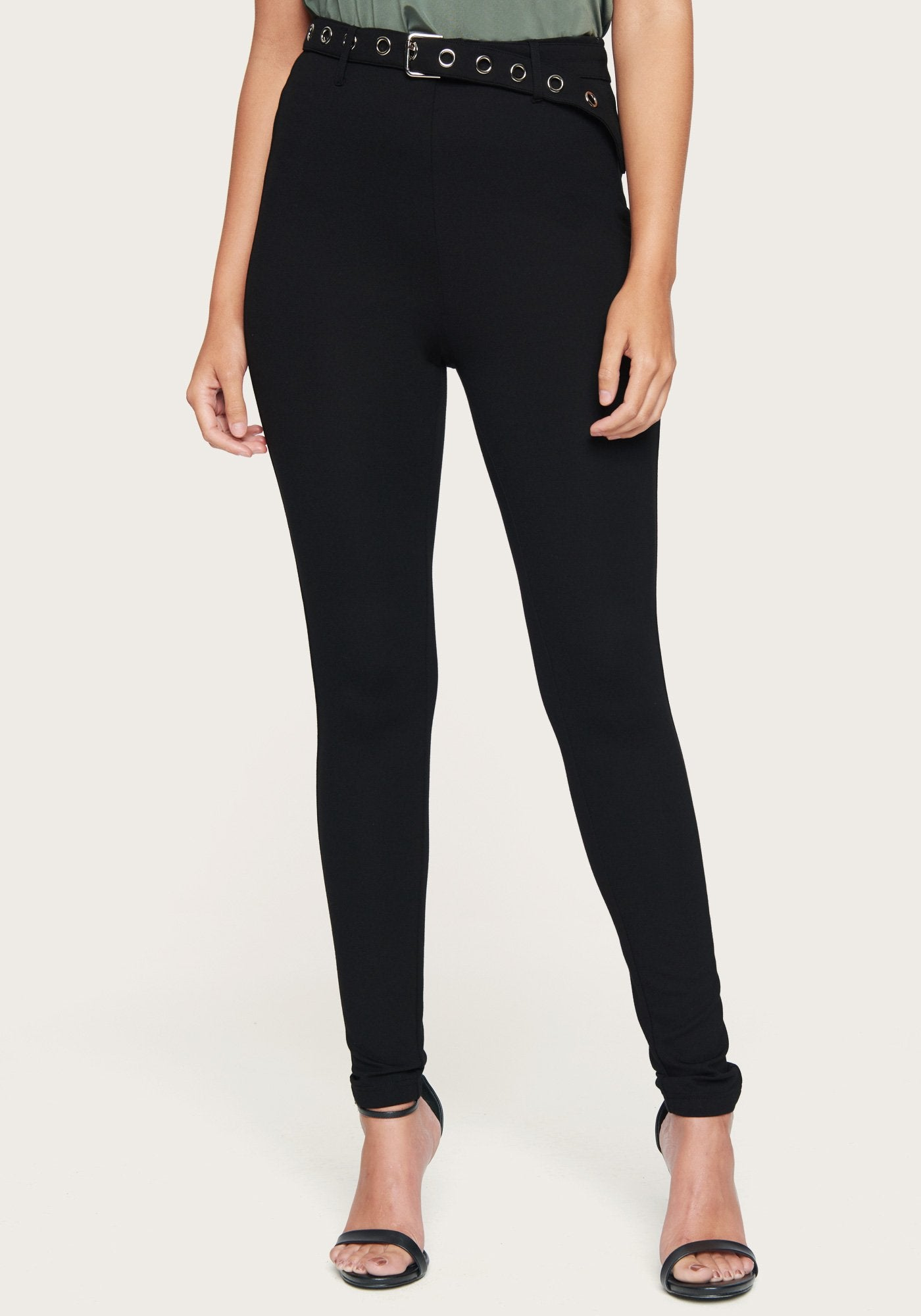 Bebe Women's Belted Leggings, Size XXS in Black Spandex/Nylon