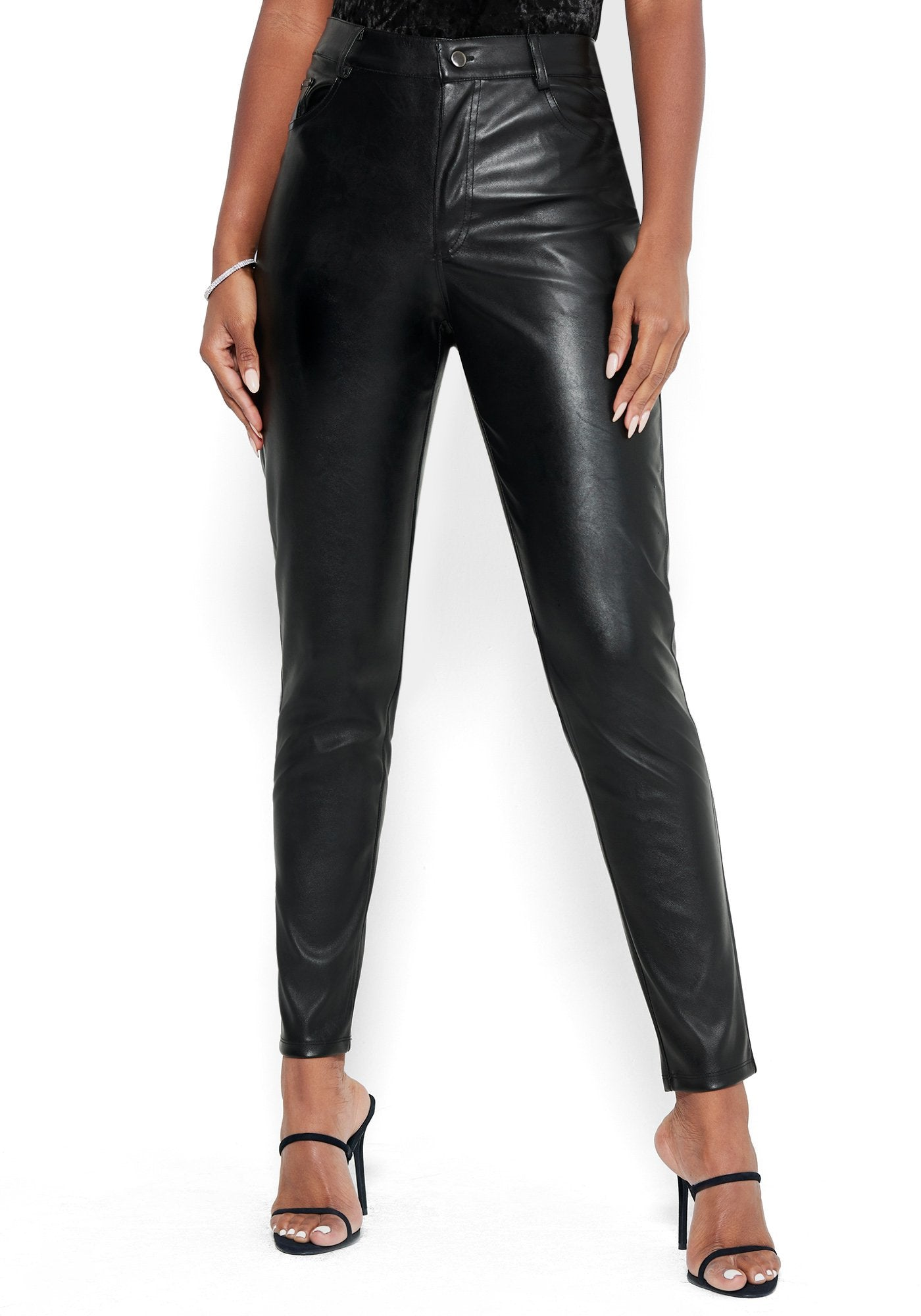 Bebe Women's Faux Leather Pant, Size 00 in Black Polyurethane
