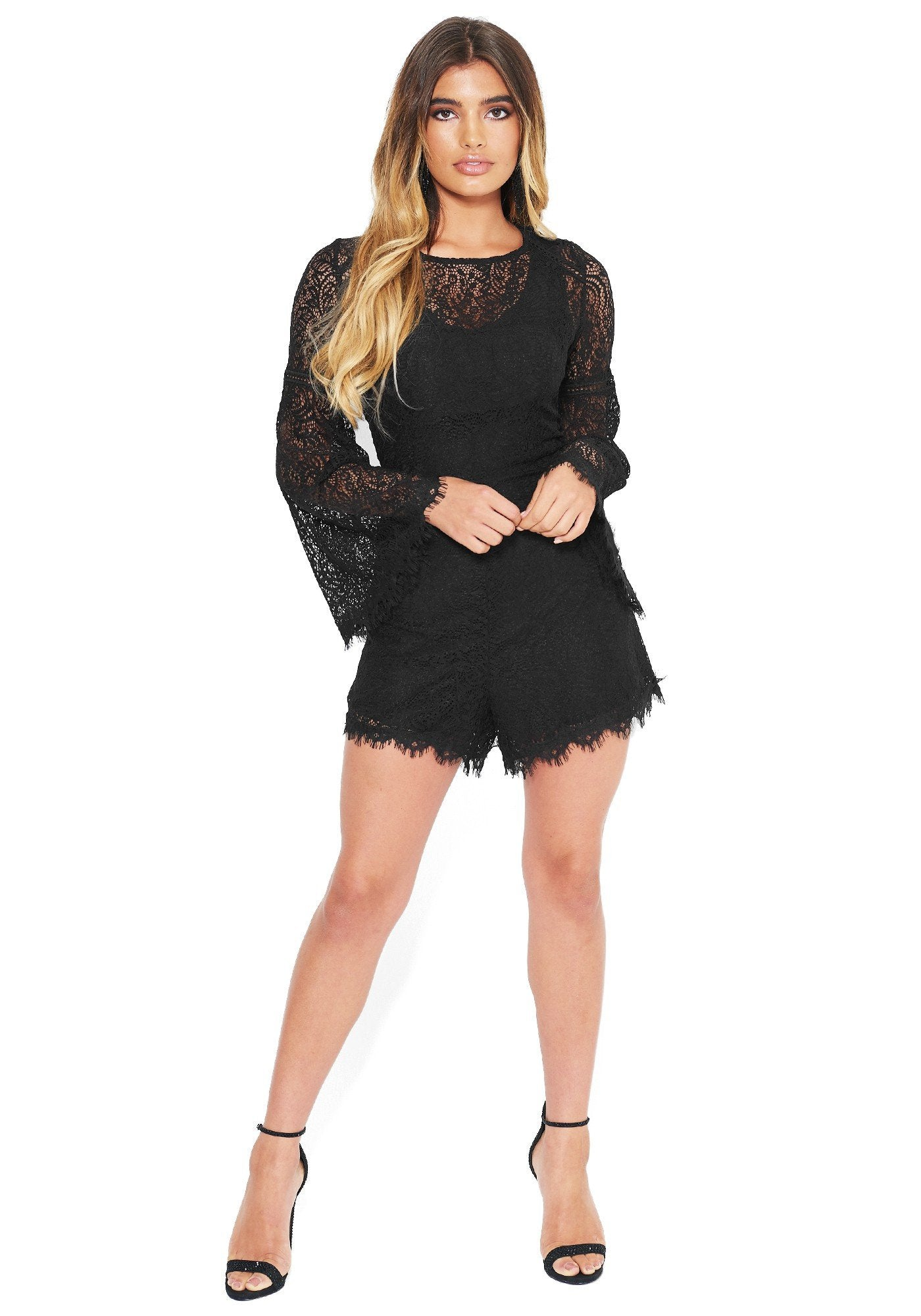 Bebe Women's Lace Flare Sleeve Romper, Size 00 in Black Polyester