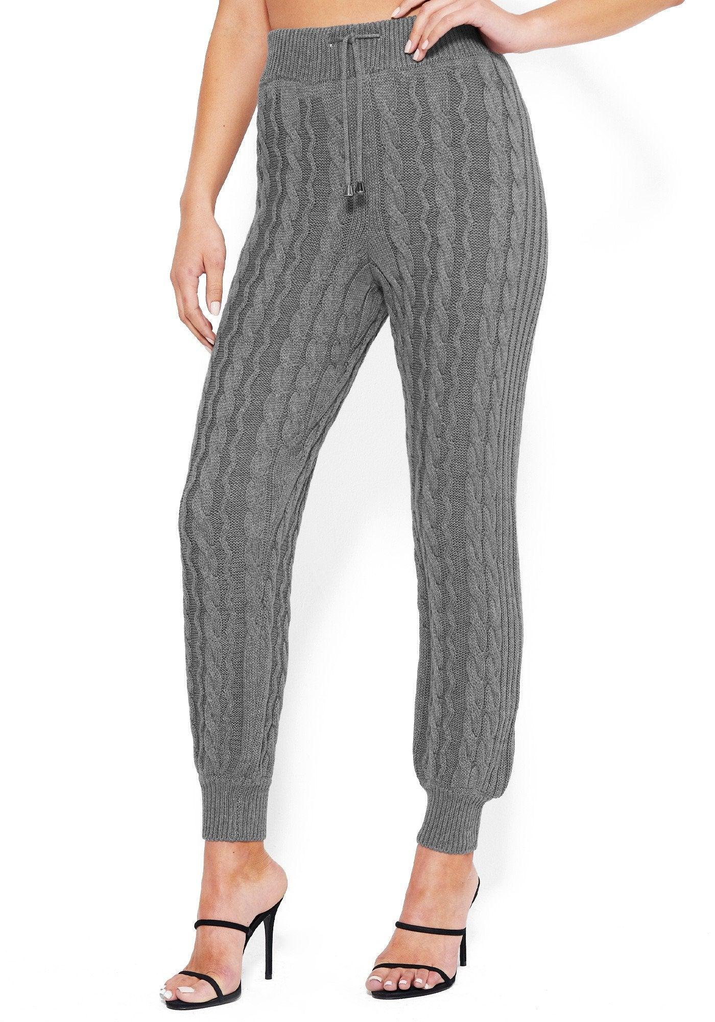 Bebe Women's Cable Knit Track Pant, Size XXS in Heather Grey Cotton