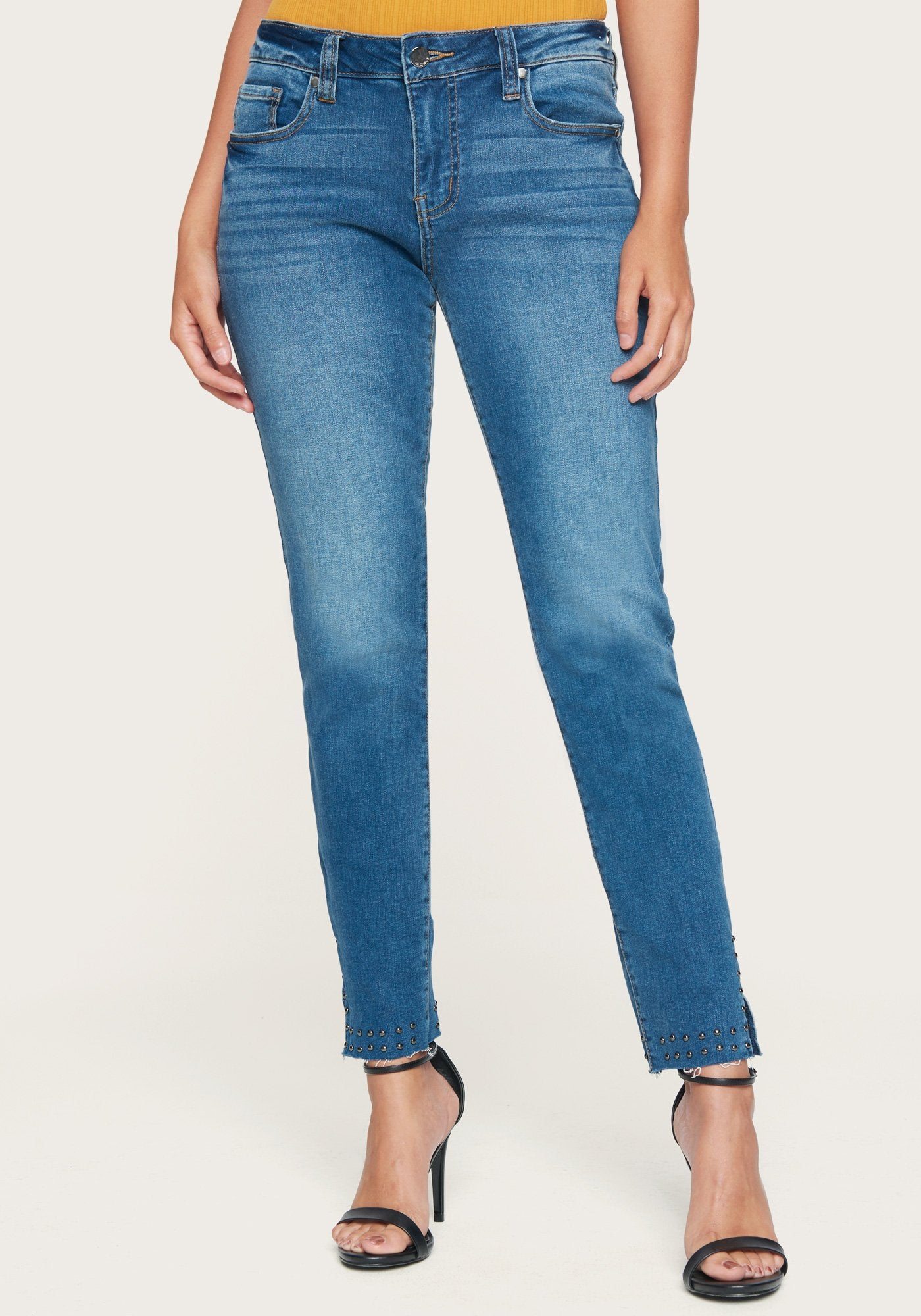 Bebe Women's Stud Detail Skinny Jeans, Size 25 in Rising Blue Cotton/Spandex
