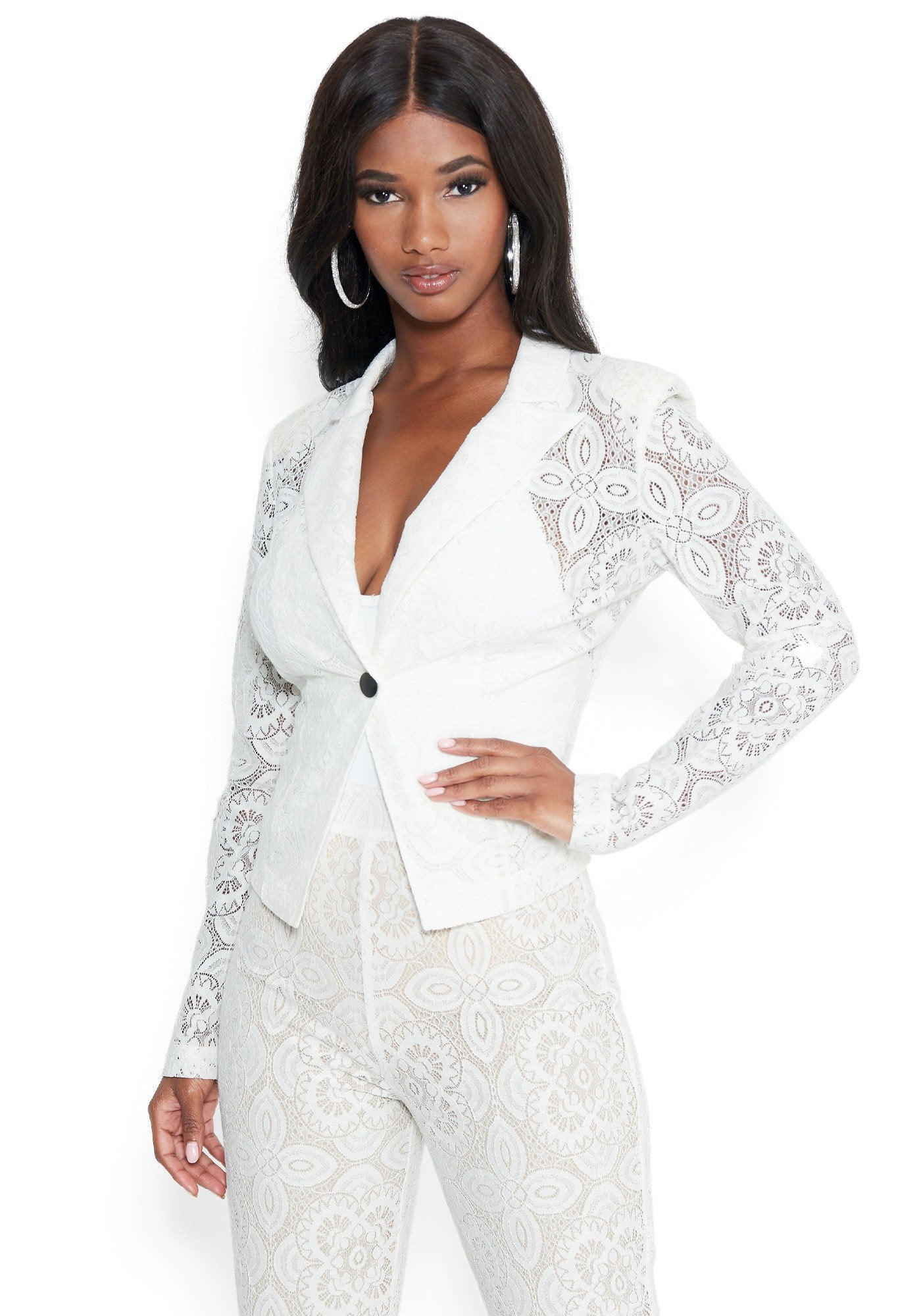 Image of Bebe Women's Lace Blazer Jacket, Size 6 in Pristine