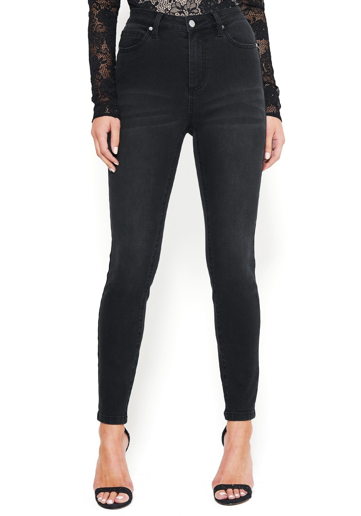 Bebe Women's Back V-Stitch Skinny Jeans, Size 25 in Black Cotton/Spandex