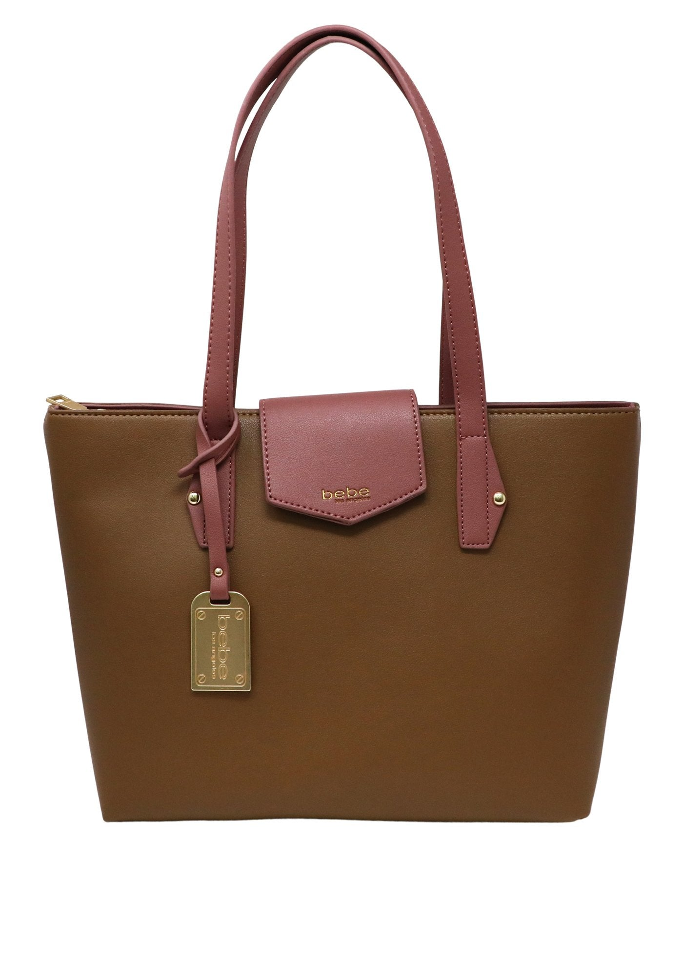 Bebe Women's Karla 2-Tone Tote Bag, Size OS in Taupe/Rose Polyurethane