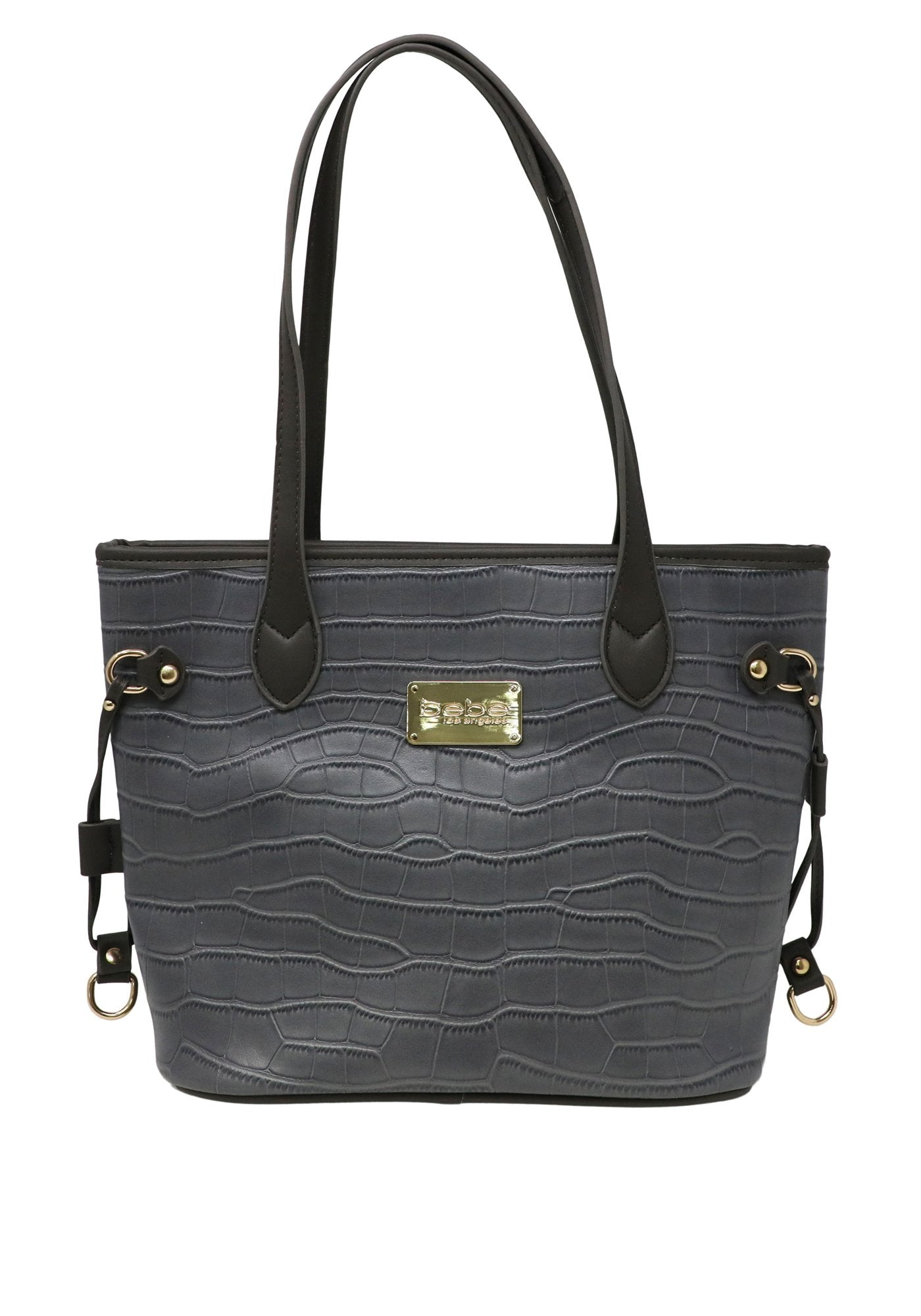 Bebe Women's Micca Croc Tote Bag, Size OS in Grey Polyurethane