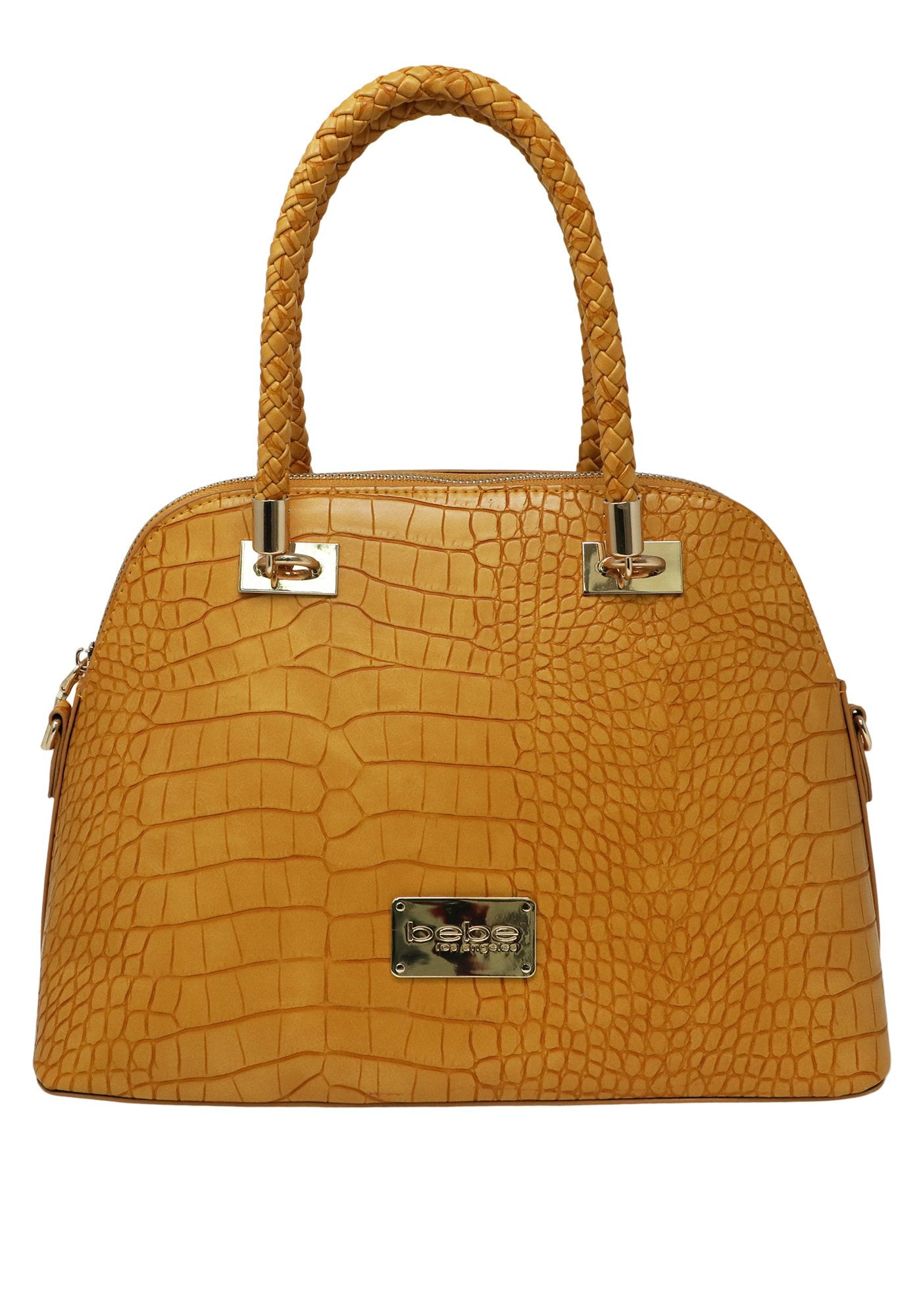 Bebe Women's Natalie Croc Dome Bag, Size OS in Mustard Polyurethane