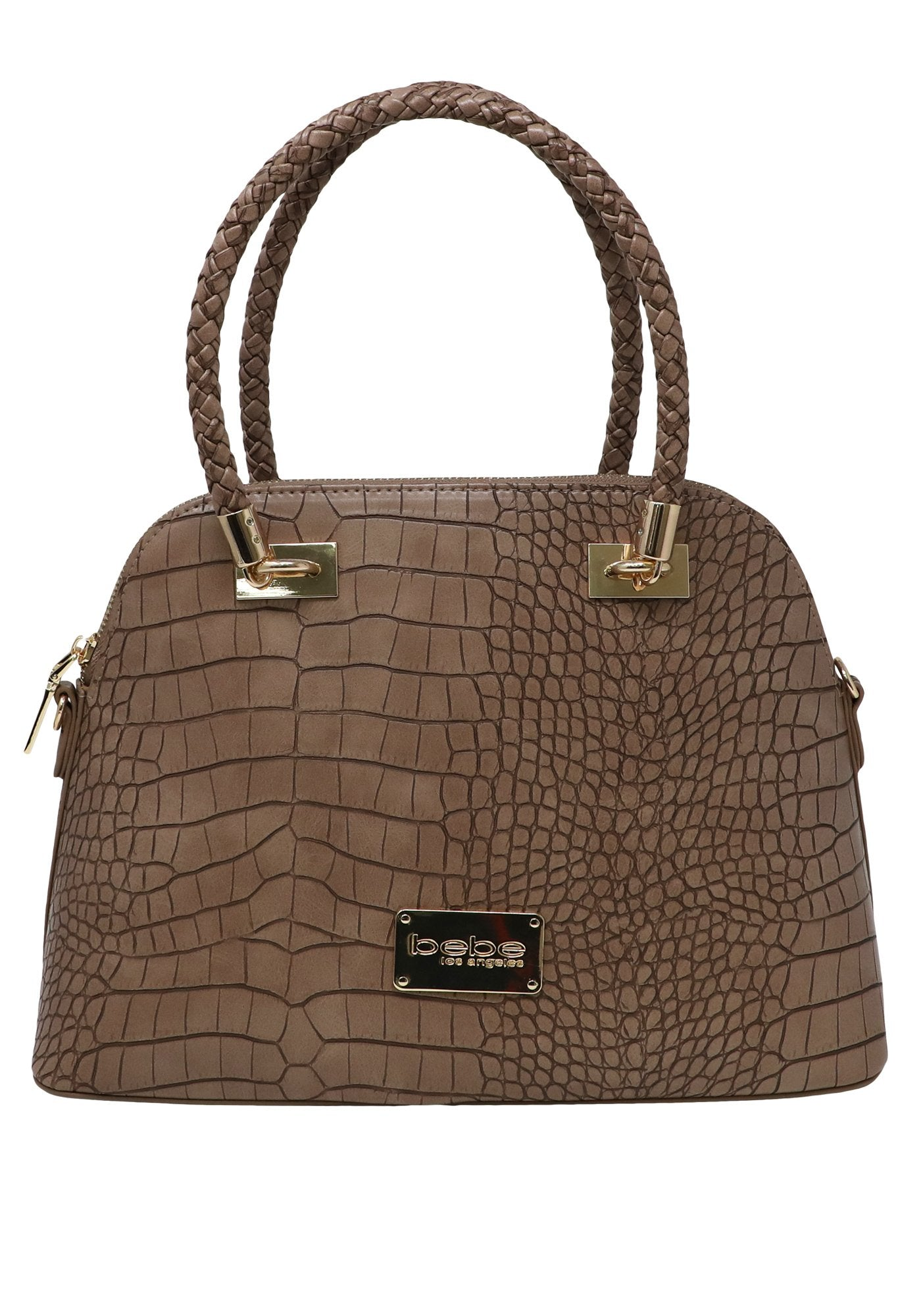 Bebe Women's Natalie Croc Dome Bag, Size OS in Taupe Polyurethane